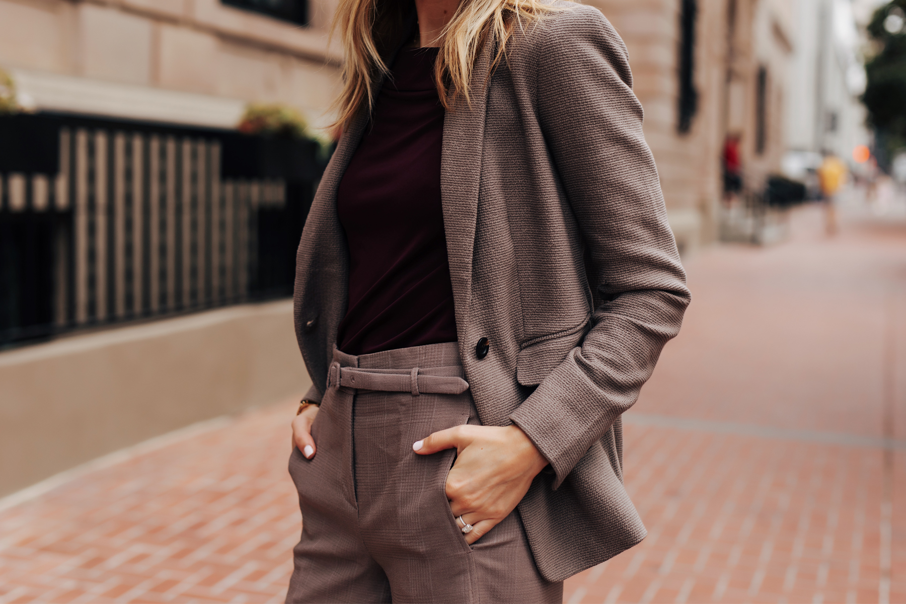 Fashion Jackson Wearing Ann Taylor Taupe Blazer Purple Top Taupe Belted Pants Fall Workwear Outfit