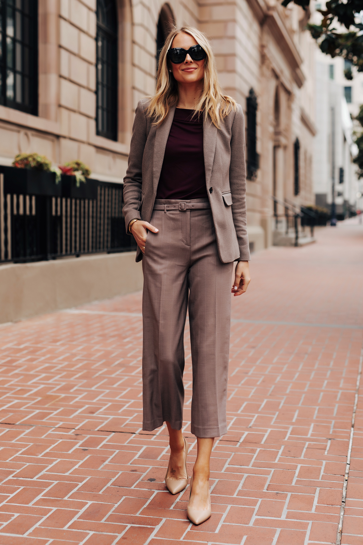 Fashion Jackson Wearing Ann Taylor Taupe Blazer Purple Top Taupe Wide Leg Cropped Pants Nude Pumps Fall Workwear Outfit