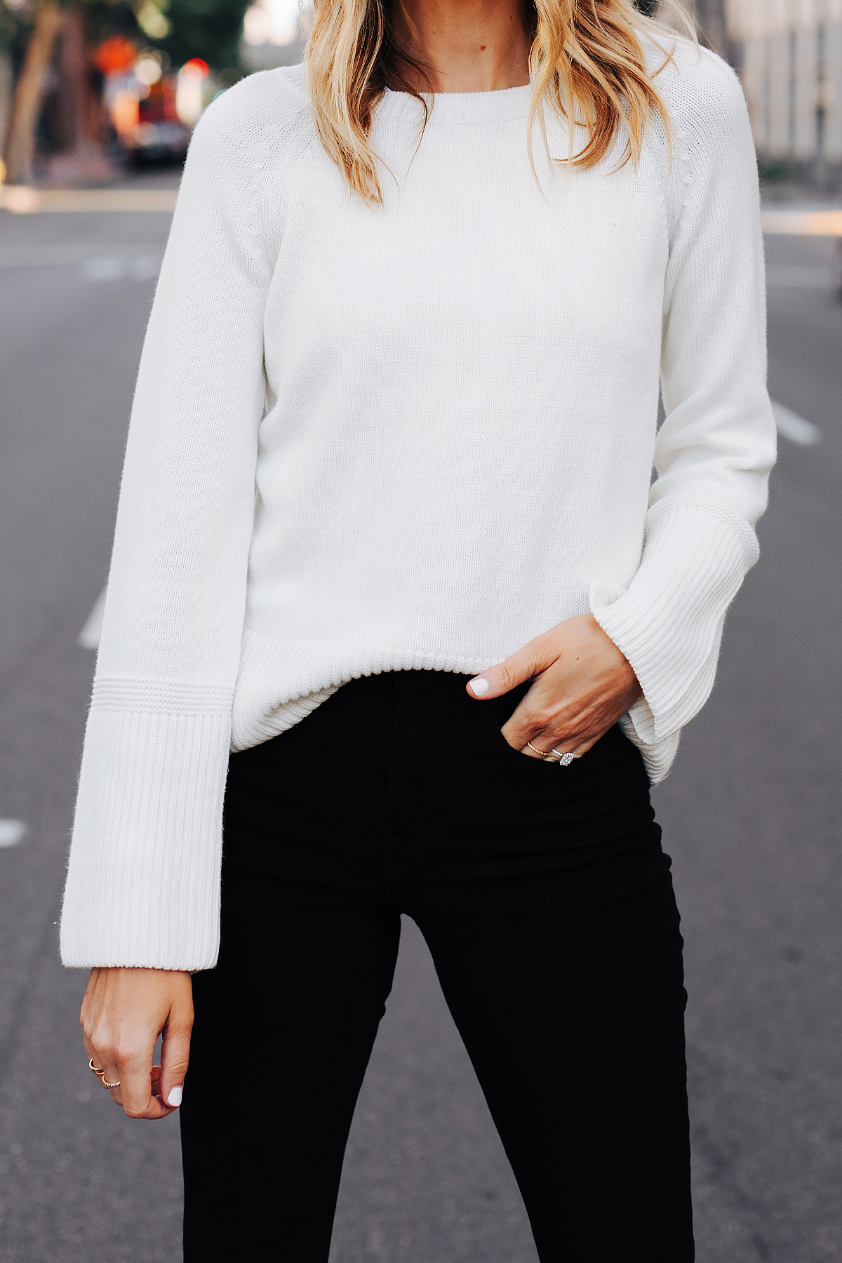 Fashion Jackson Wearing Ann Taylor White Sweater Black Skinny Jeans