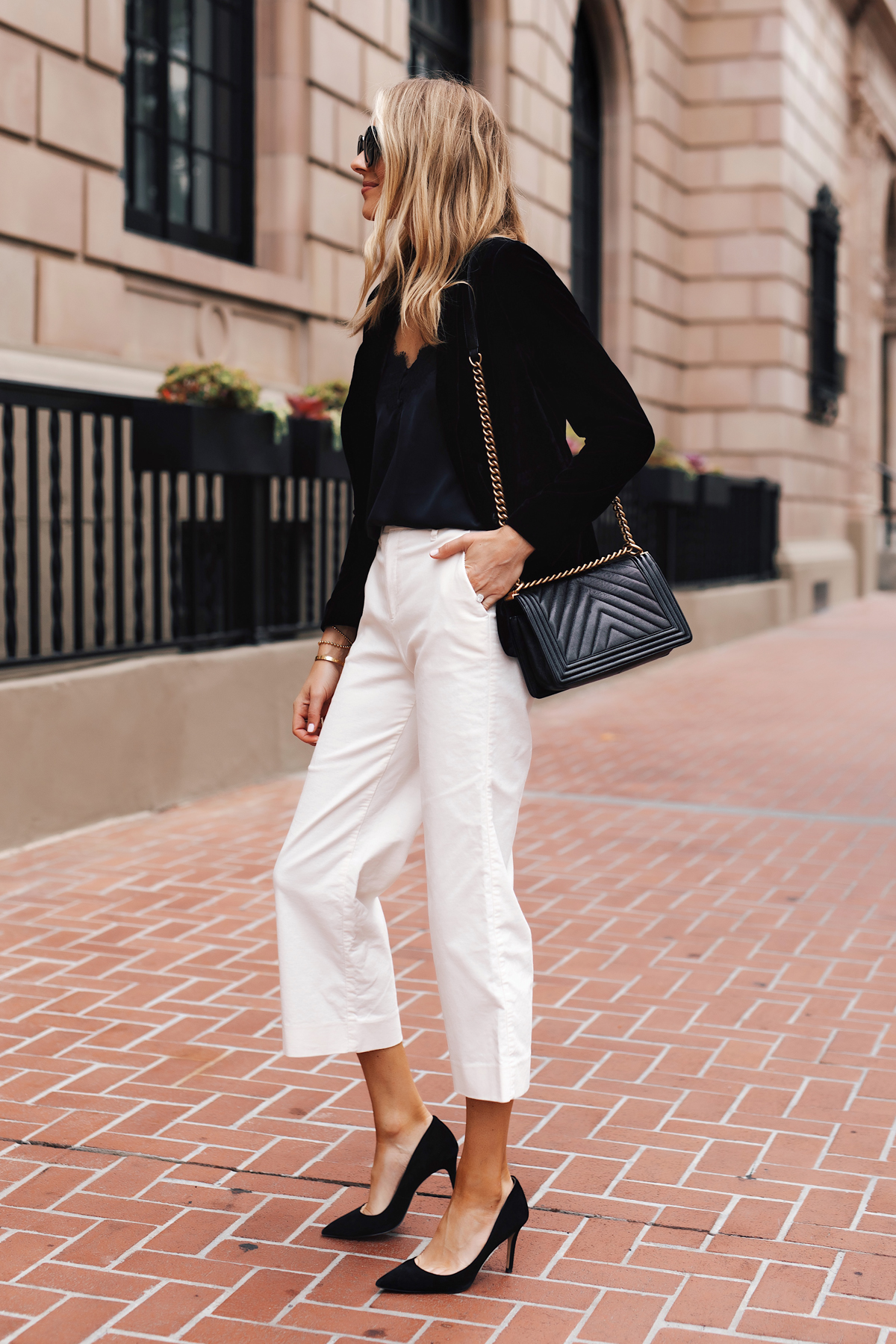 winter white corduroy pants styled for work and weekend