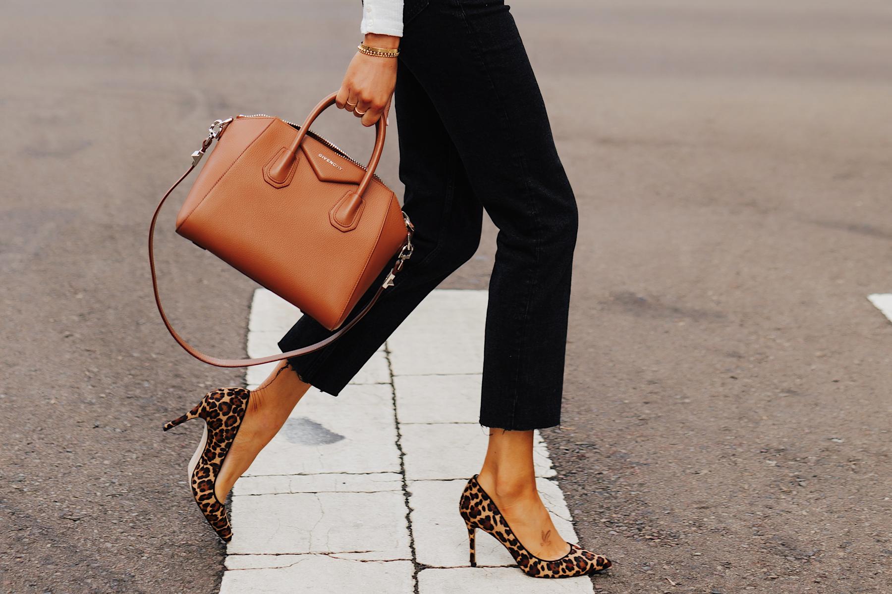 Fashion Jackson Wearing Black Raw Hem Jeans Leopard Pumps Givenchy Antigona Cognac Handbag