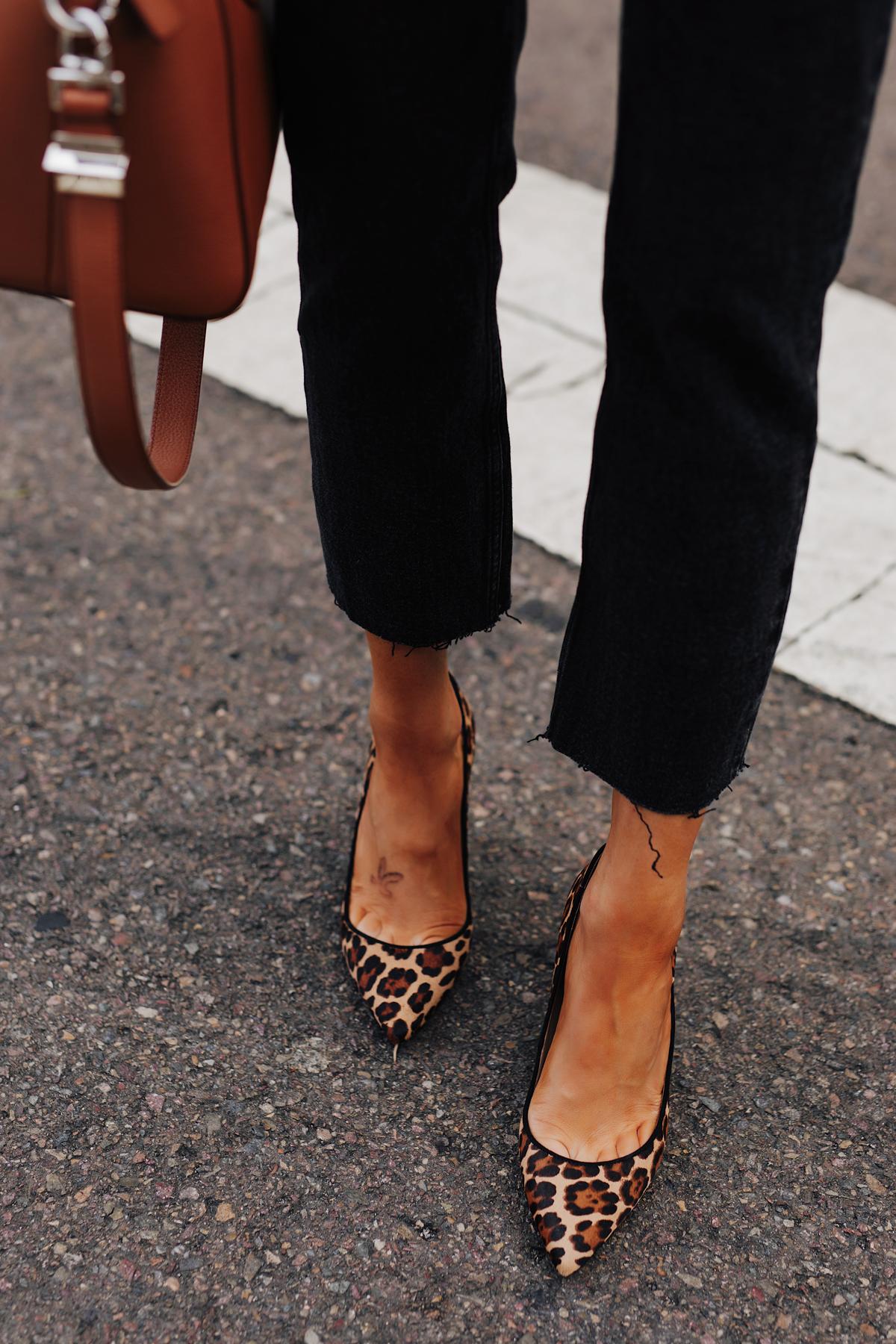 Fashion Jackson Wearing Black Raw Hem Jeans Leopard Pumps