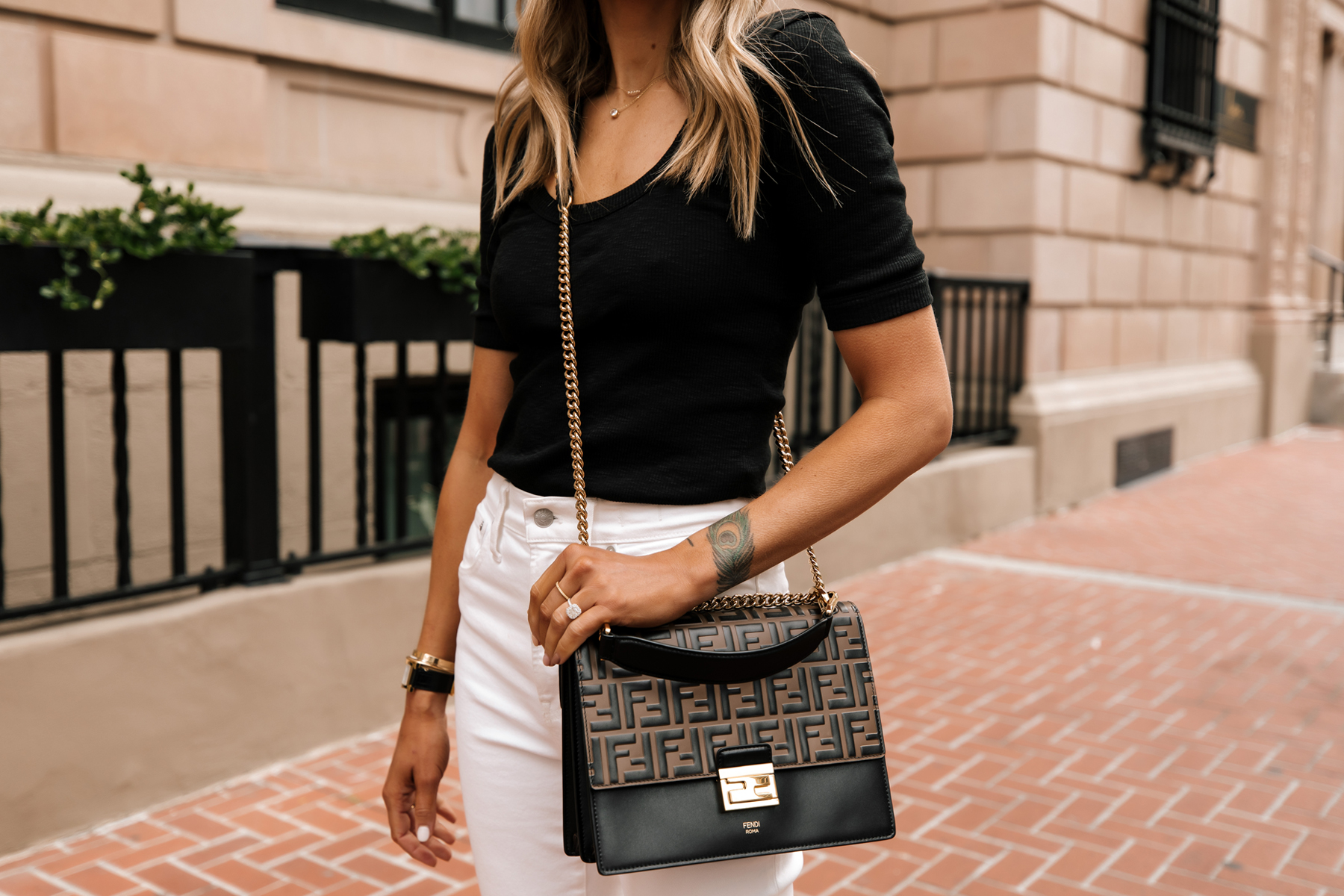 Fashion Jackson Wearing Black Scoop Neck Top White Jeans Fendi Ken U Medium Shoulder Bag 1