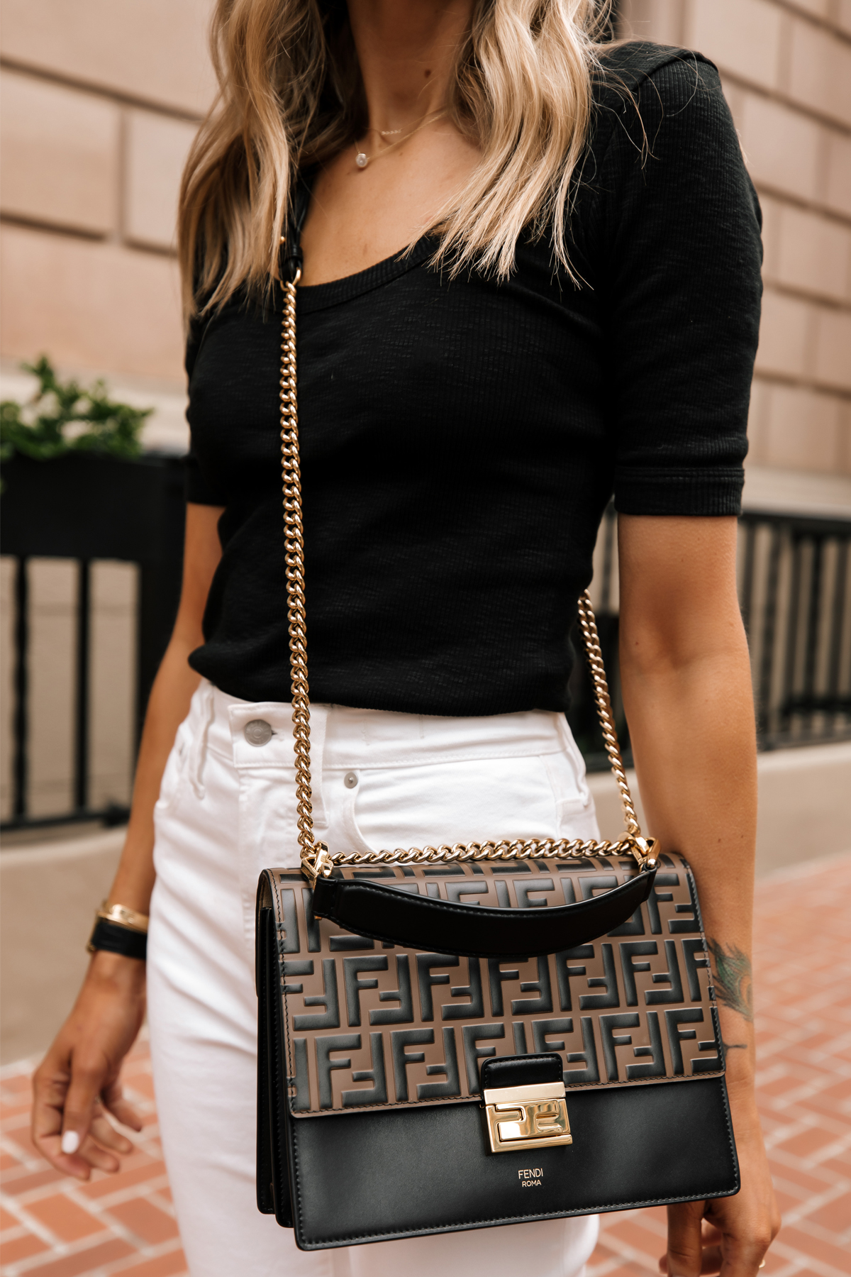 Fashion Jackson Wearing Black Scoop Neck Top White Jeans Fendi Ken U Medium Shoulder Bag 2