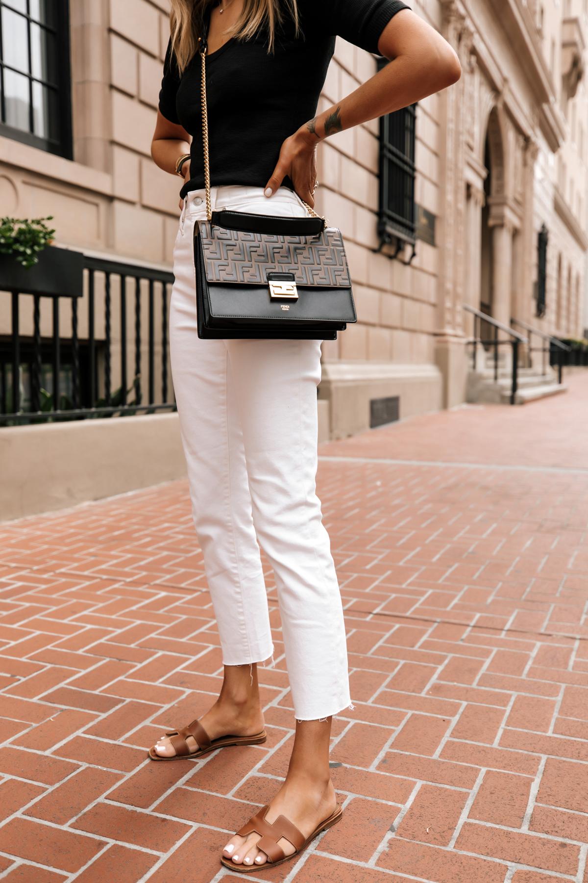 Fashion Jackson Wearing Black Scoop Neck Top White Jeans Fendi Ken U Medium Shoulder Bag Hermes Oran Tan Sandals White Jeans Outfit