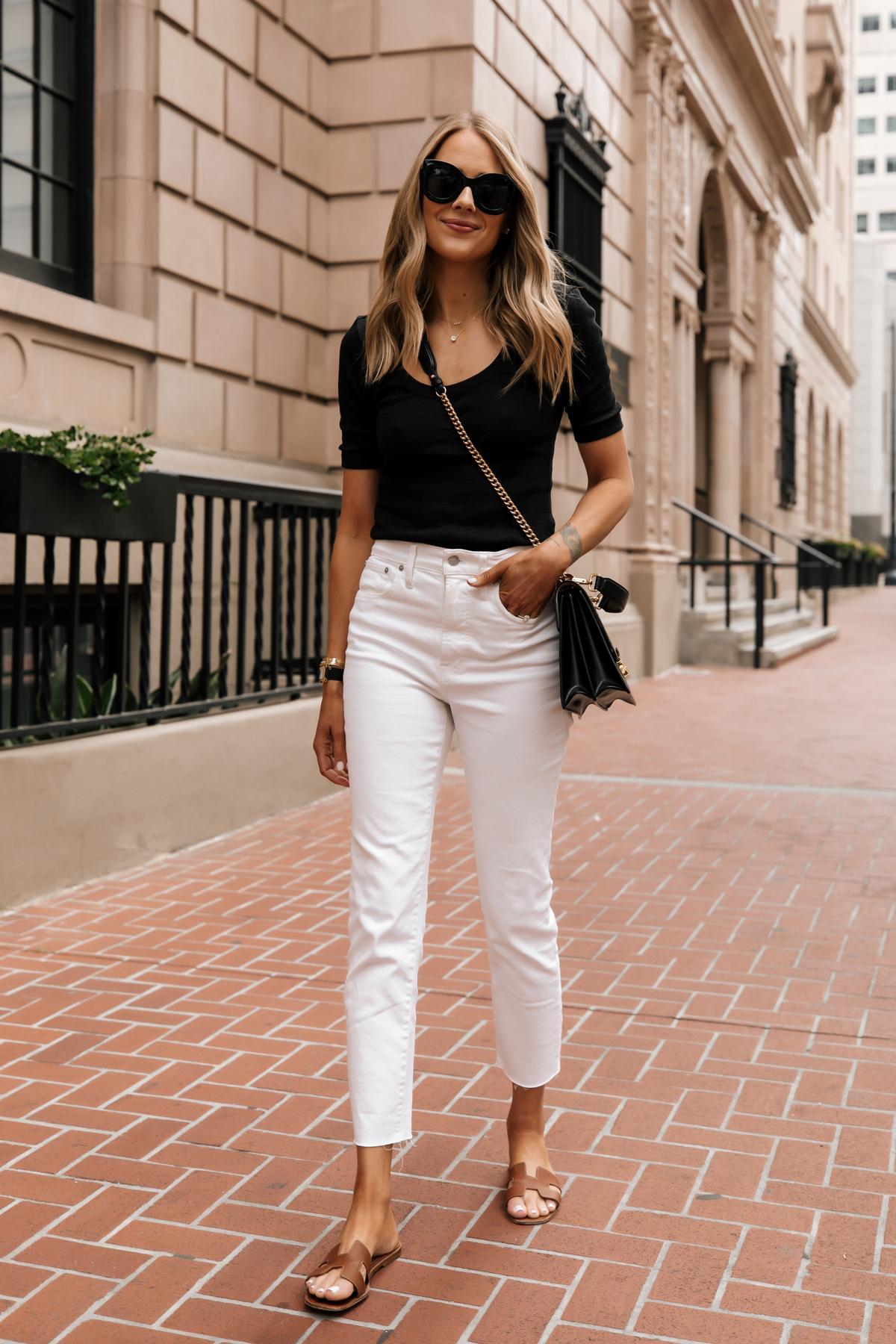 Fashion Jackson Wearing Black Scoop Neck Top White Jeans Fendi Ken U Medium Shoulder Bag Hermes Oran Tan Sandals minimalist summer outfit