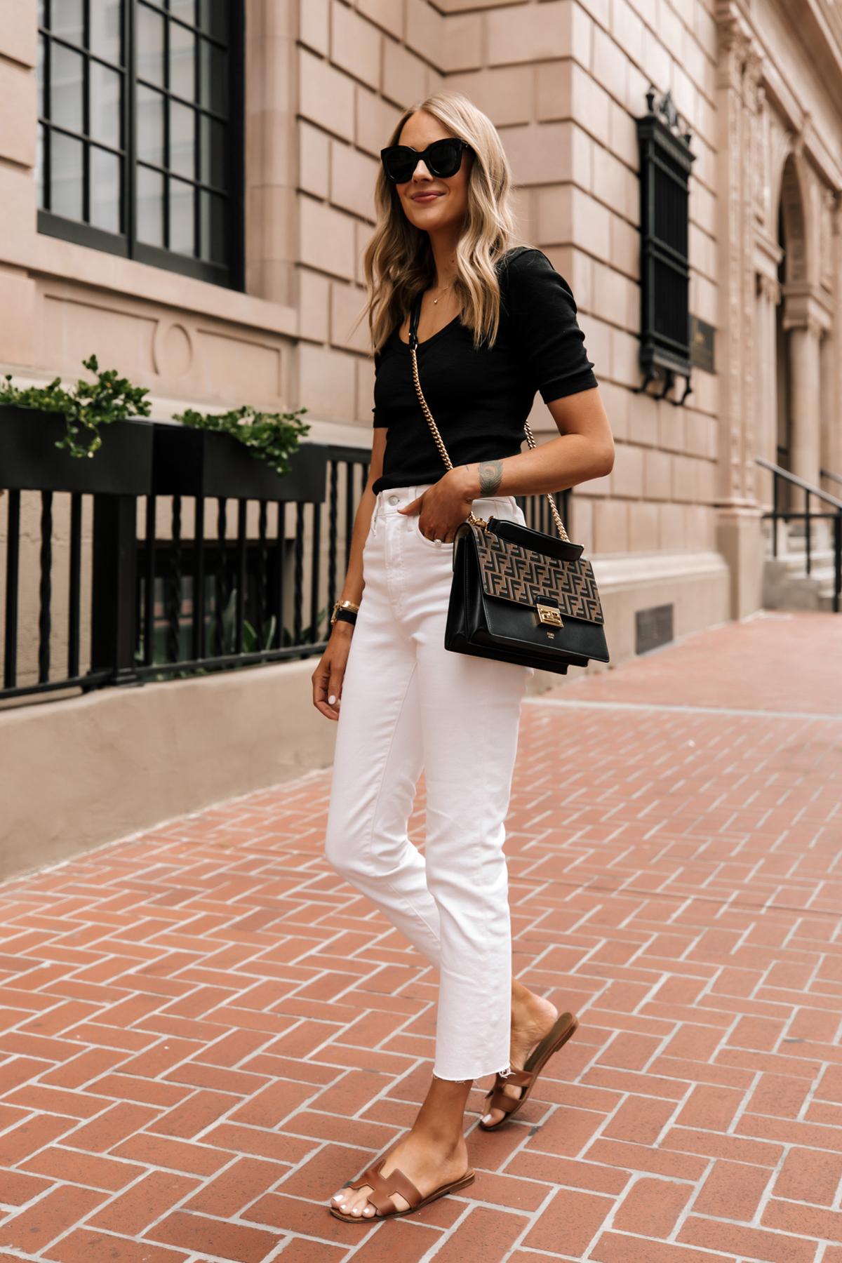 Fashion Jackson Wearing Black Scoop Neck Top White Jeans Fendi Ken U Medium Shoulder Bag Hermes Oran Tan Sandals white jeans summer outfit