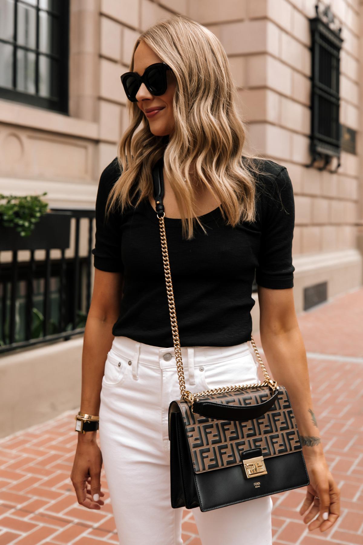 Fashion Jackson Wearing Black Scoop Neck Top White Jeans Fendi Ken U Medium Shoulder Bag