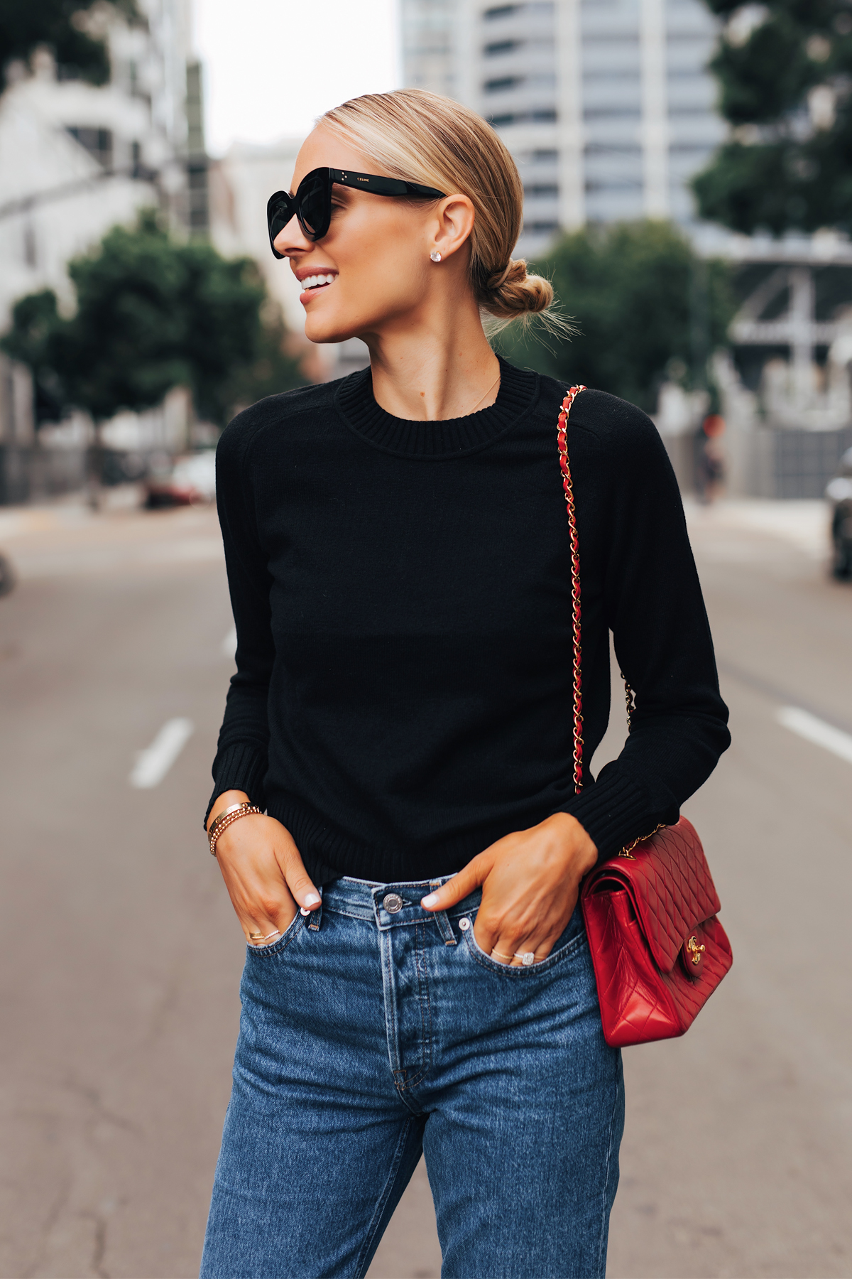Fashion Jackson Wearing Everlane Black Cashmere Sweater Everlane Relaxed Jeans Chanel Red Handbag