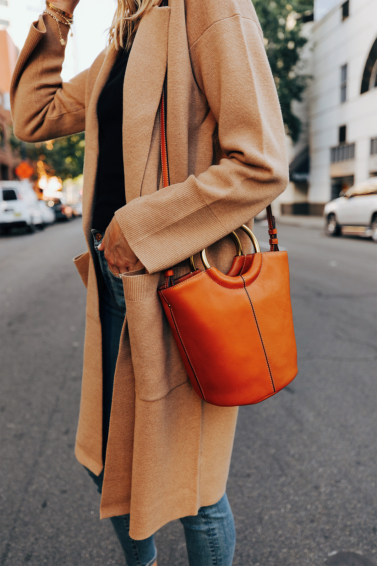 Fashion Jackson Wearing Jcrew Camel Long Sweater Coatigan Cognac Bucket Bag Fall Outfit