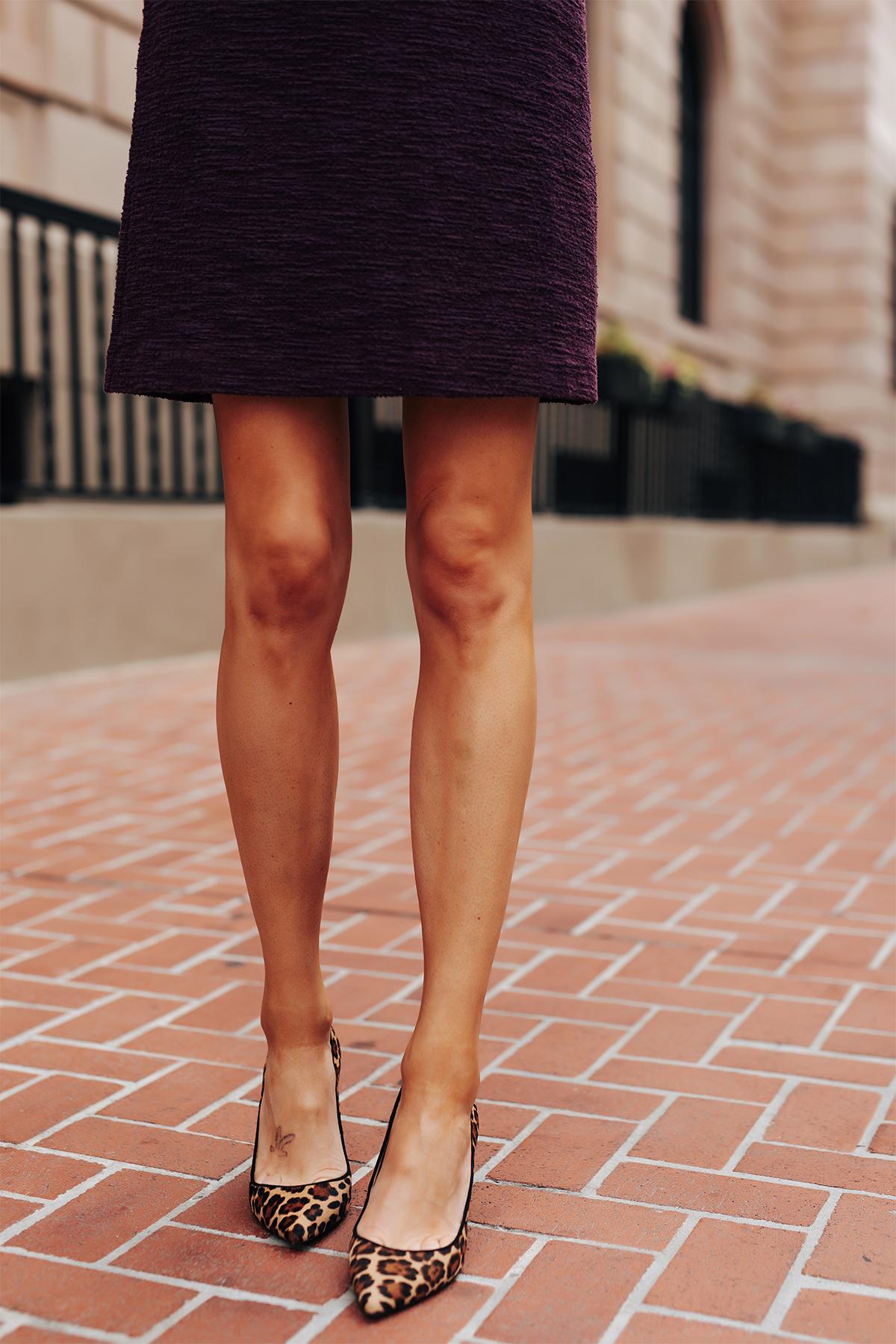 Fashion Jackson Wearing Plum Tweed Dress Leopard Pumps