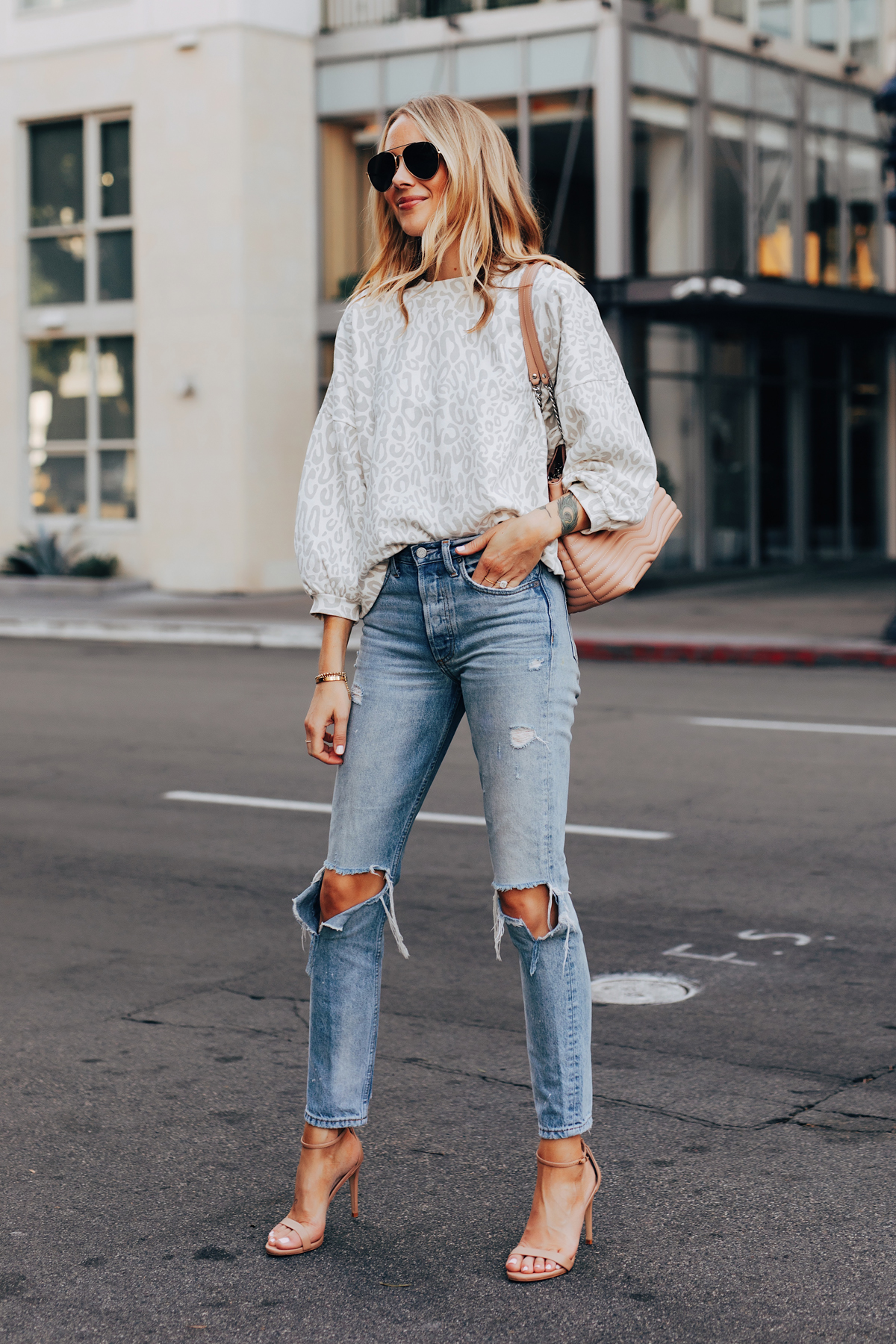 Fashion Jackson Wearing Rebecca Minkoff Leopard Sweatshirt Ripped Jeans Tan Ankle Strap Heeled Sandals Aviator Sunglasses Rebecca Minkoff MAB Quilted Satchel Blush 1