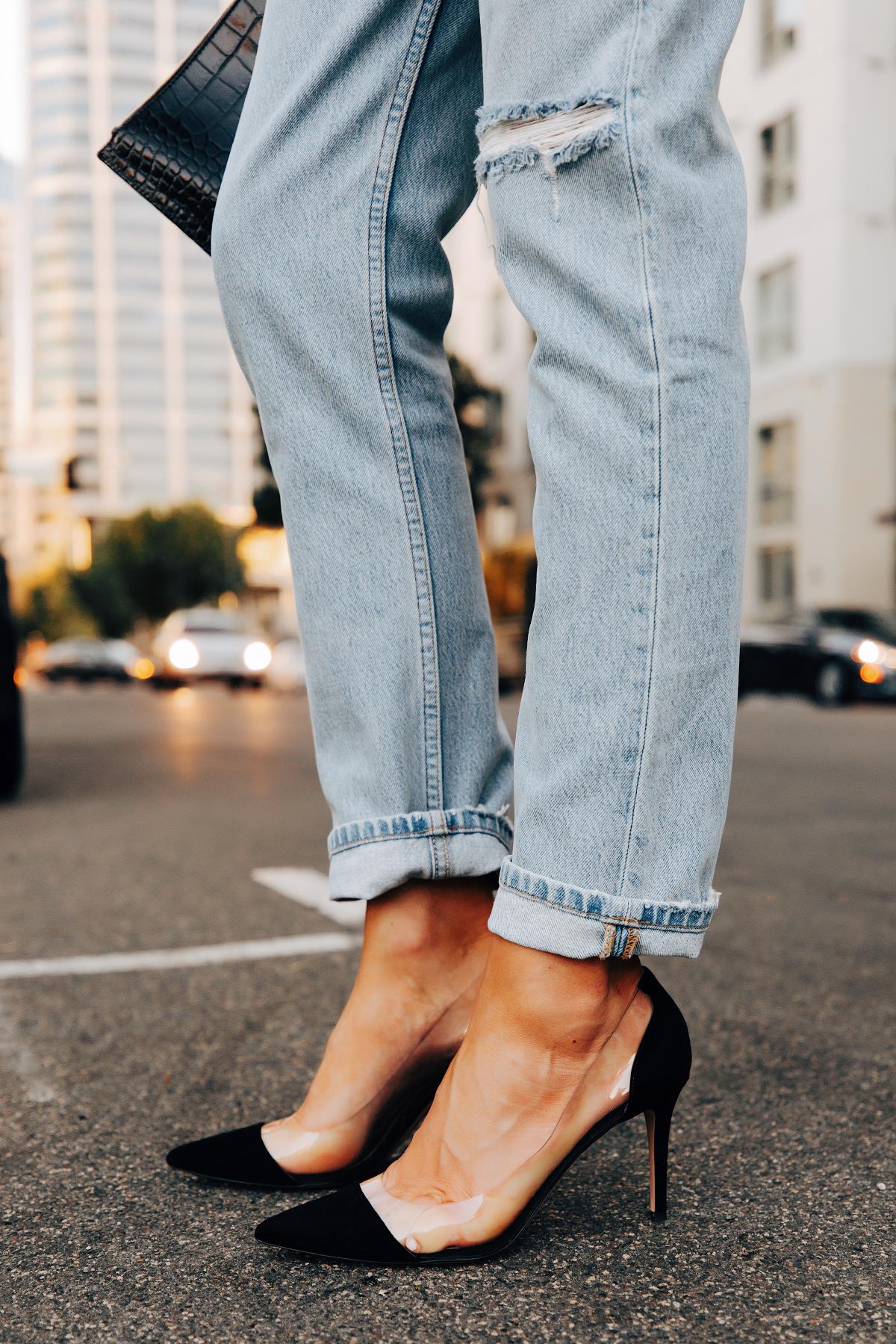 Fashion Jackson Wearing Reformation Ripped Jeans Gianvanti Rossi Plexi Black Pumps