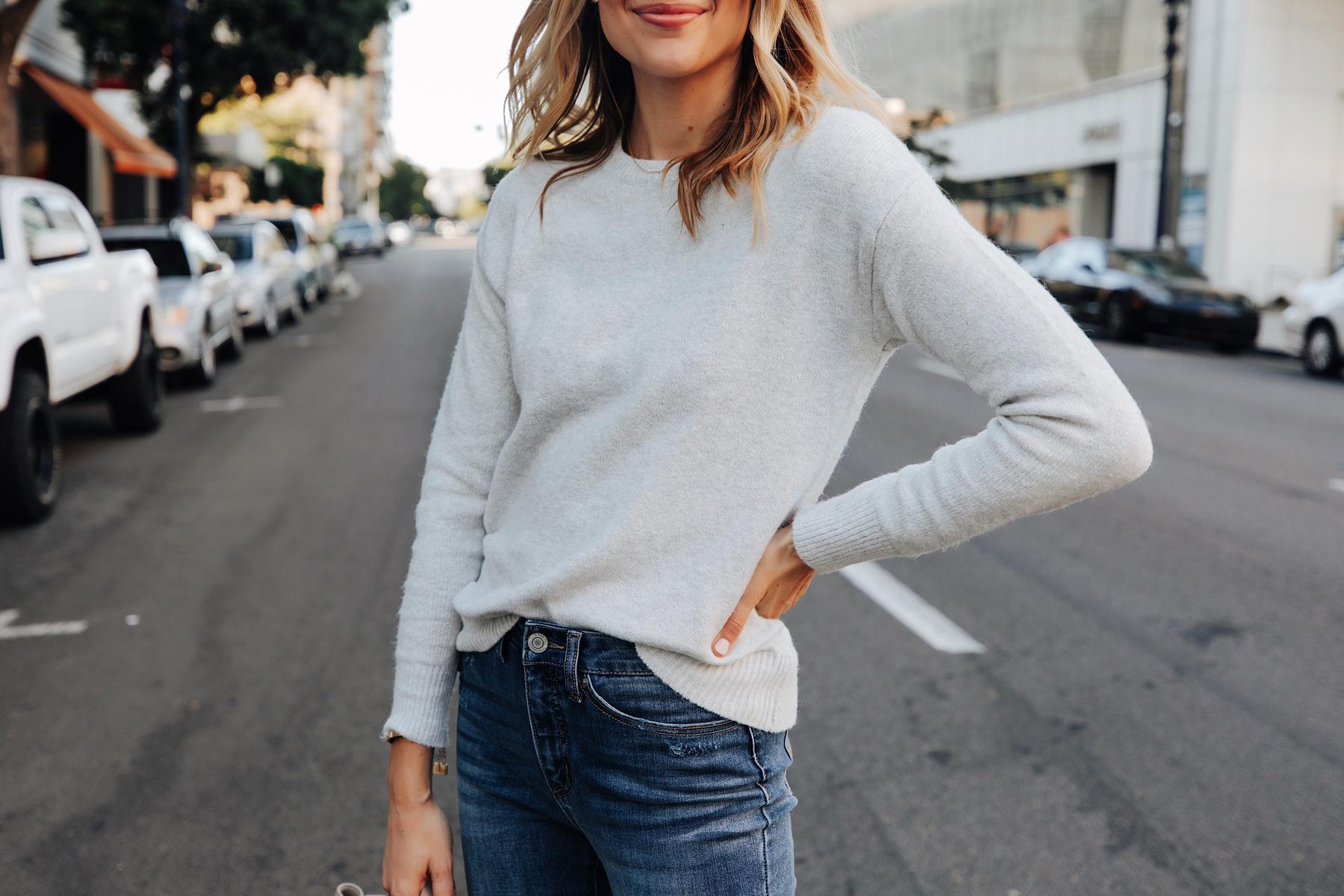 Fashion Jackson Wearing Walmart Grey Sweater Jeans