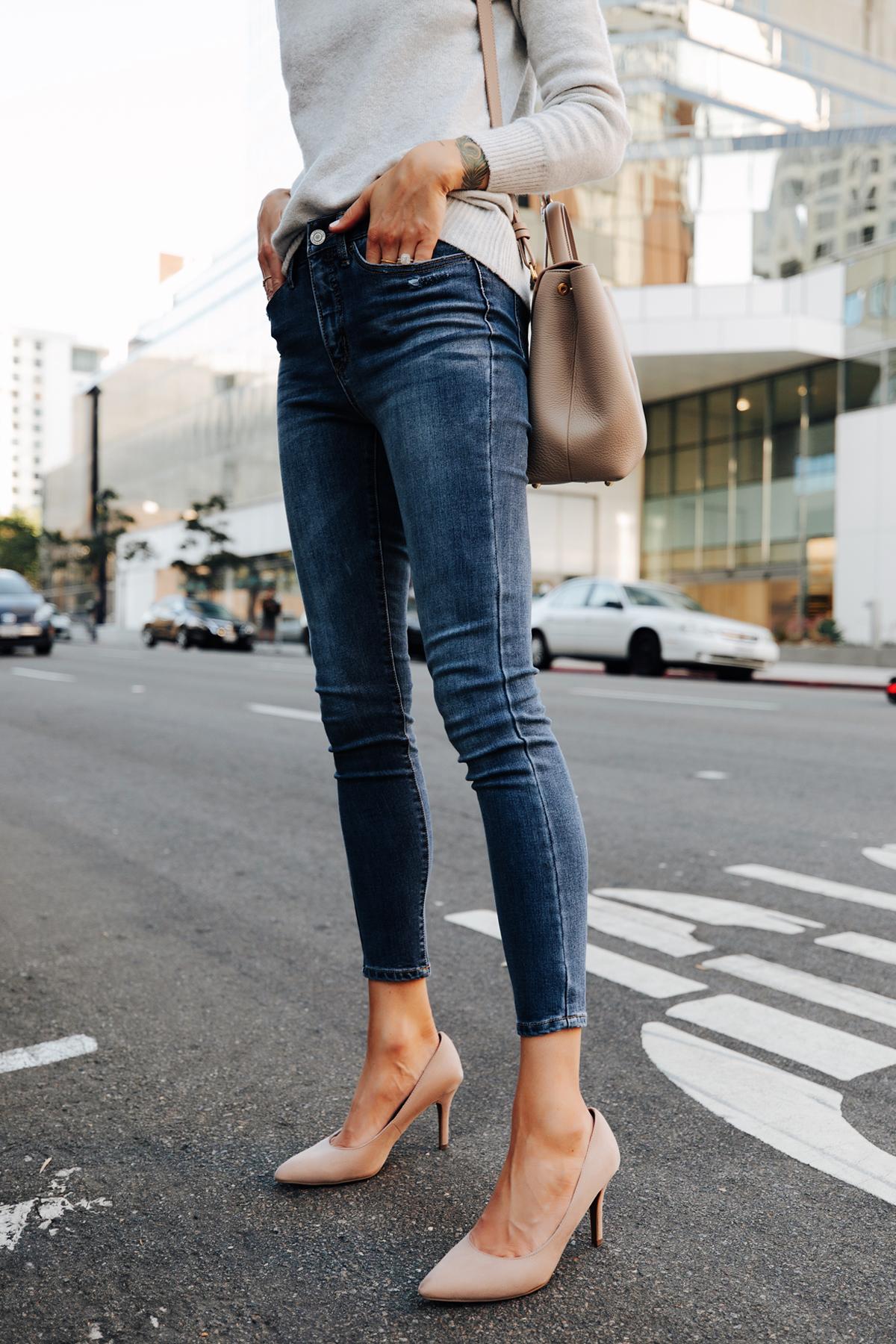 Fashion Jackson Wearing Walmart Grey Sweater Walmart Denim Skinny Jeans Nude Pumps