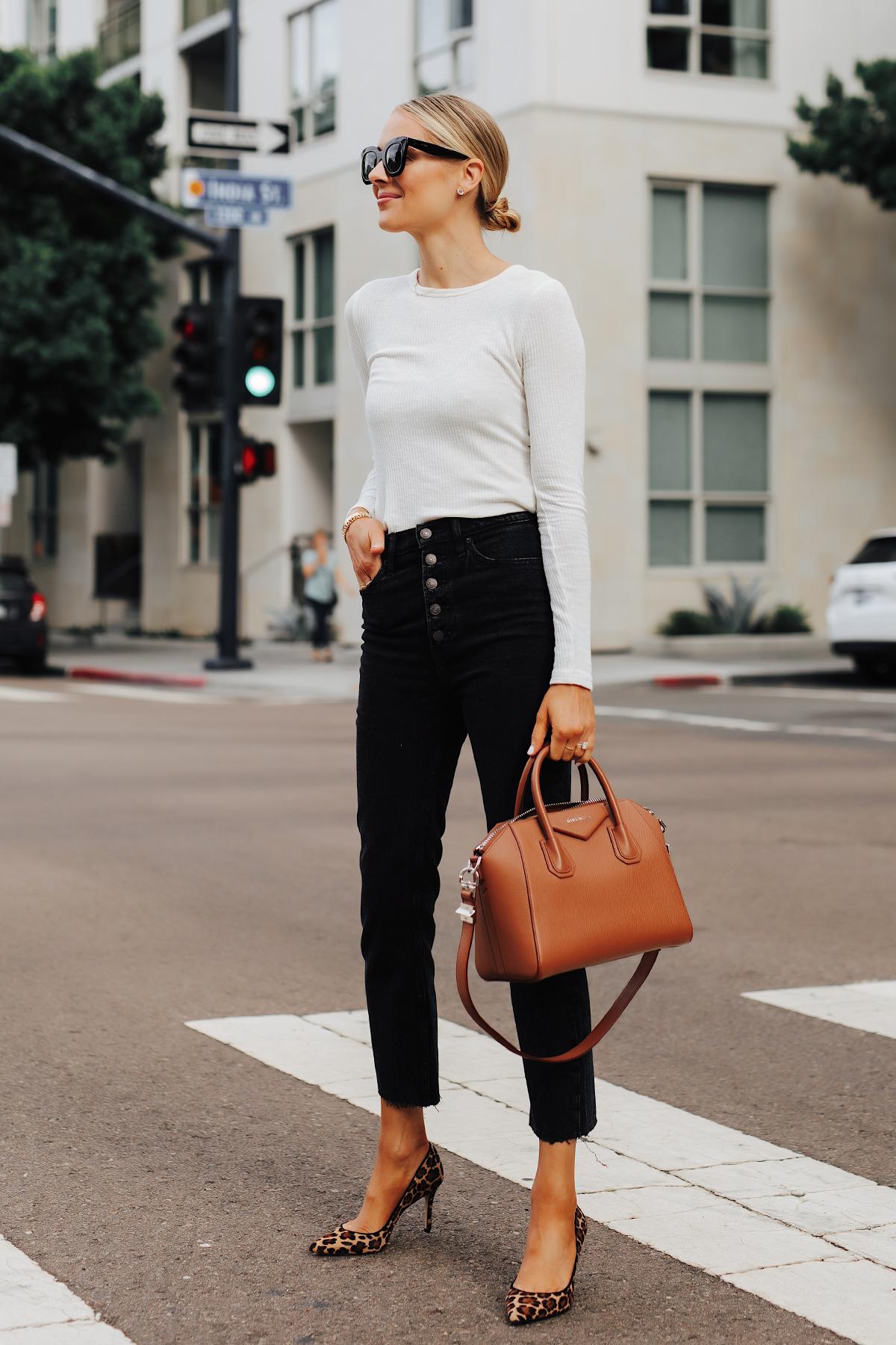 Fashion Jackson Wearing White Long Sleeve Top Black Raw Hem Jeans Leoaprd Pumps Givenchy Antigona Cognac Handbag