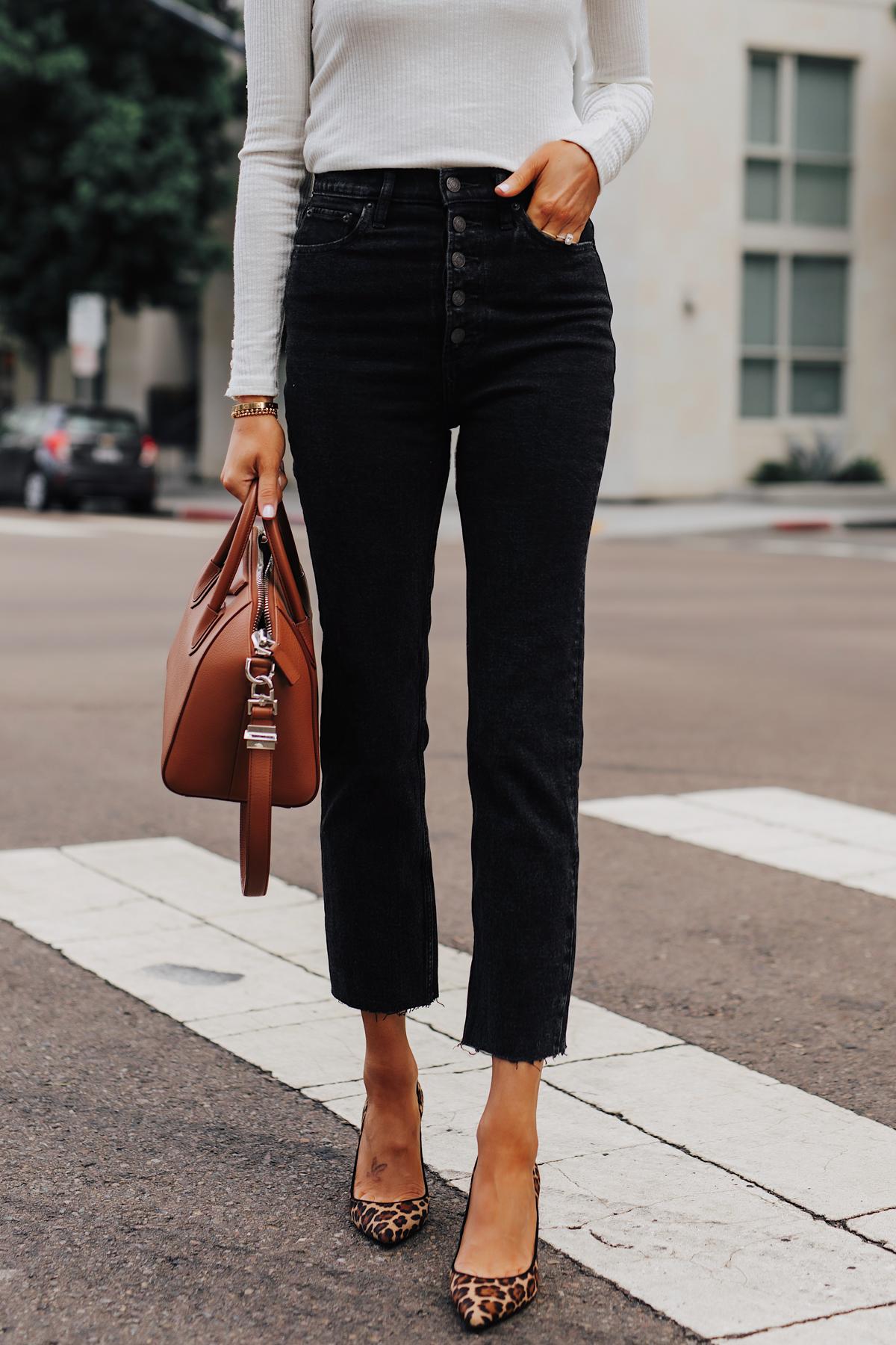 Fashion Jackson Wearing White Top Abercrombie Button Front Raw Hem Mom Jeans Leopard Pumps
