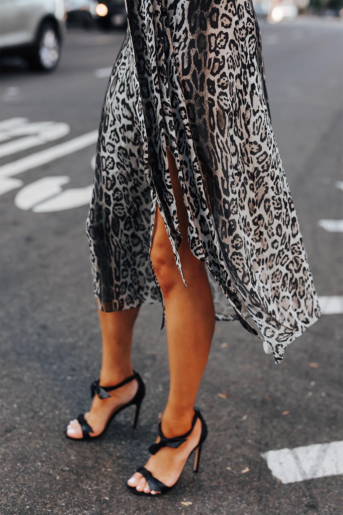 Fashion Jackson Wearing tommy hilfiger zendaya collection snow leopard dress Black Tie Heeled Sandals 1