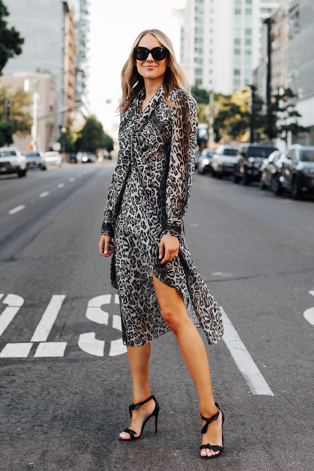 Fashion Jackson Wearing tommy hilfiger zendaya collection snow leopard dress Black Tie Heeled Sandals 3