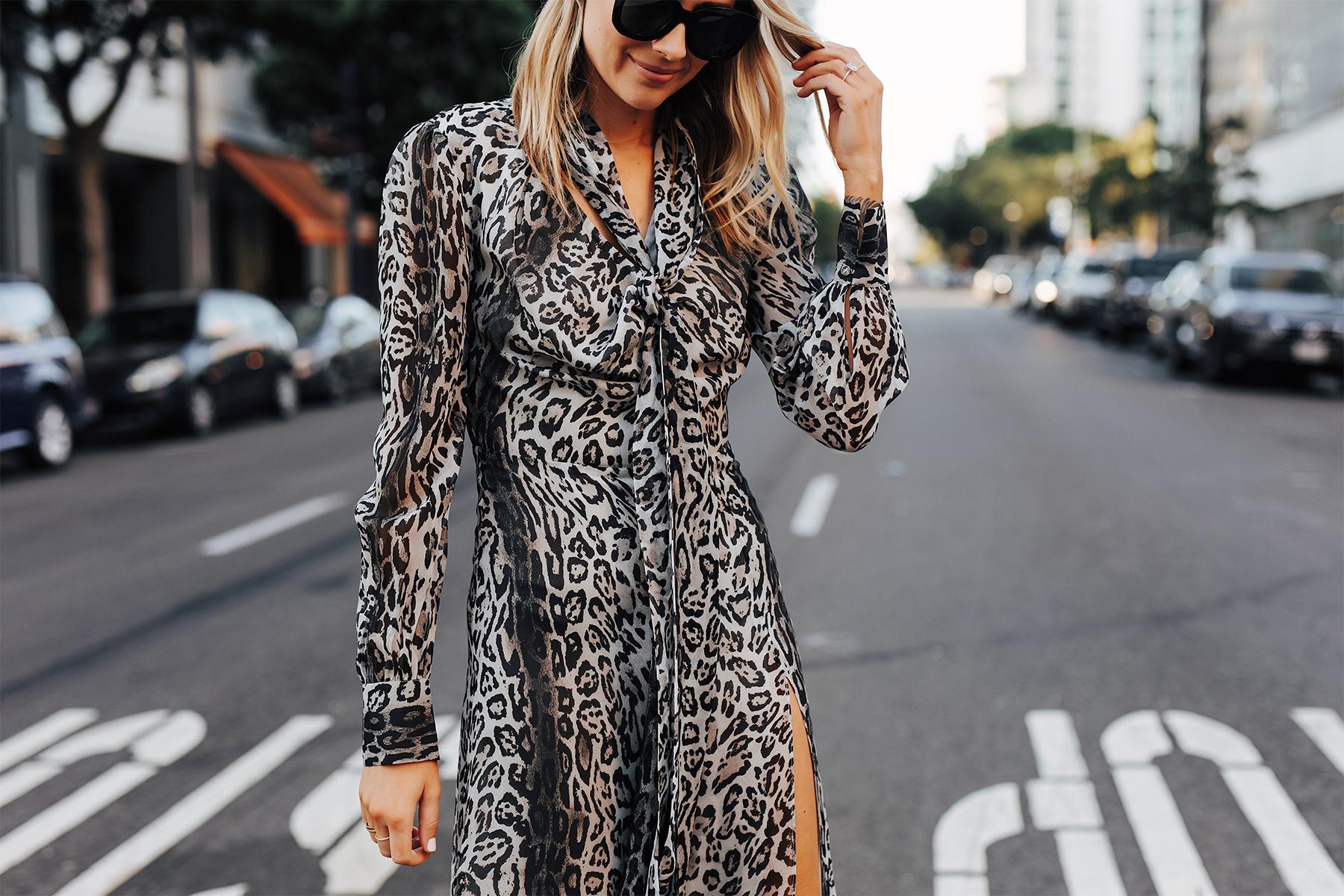 Fashion Jackson Wearing tommy hilfiger zendaya collection snow leopard dress