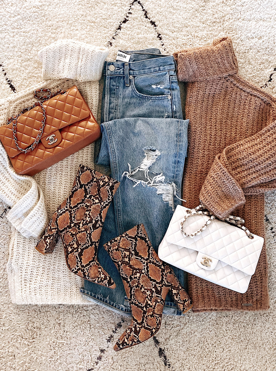Abercrombie Turtleneck Sweaters Ripped Jeans Snakeskin Booties Chanel Handbags