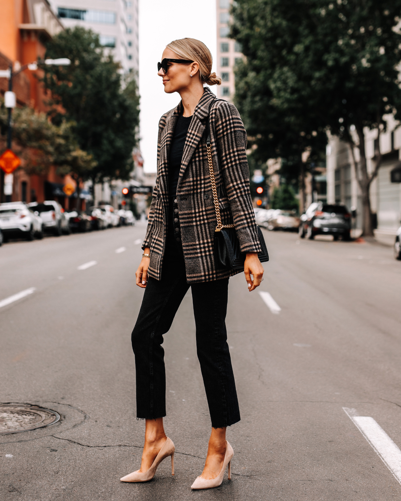 Fashion Jackson Wearing Aberceombie Plaid Blazer Black Raw Hem Jeans Nude Pumps Fall Outfit