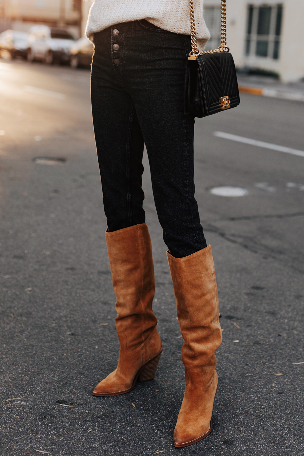 Fashion Jackson Wearing Abercrombie Black Jeans Sam Edelman Indigo Pointed Toe Knee High Boot