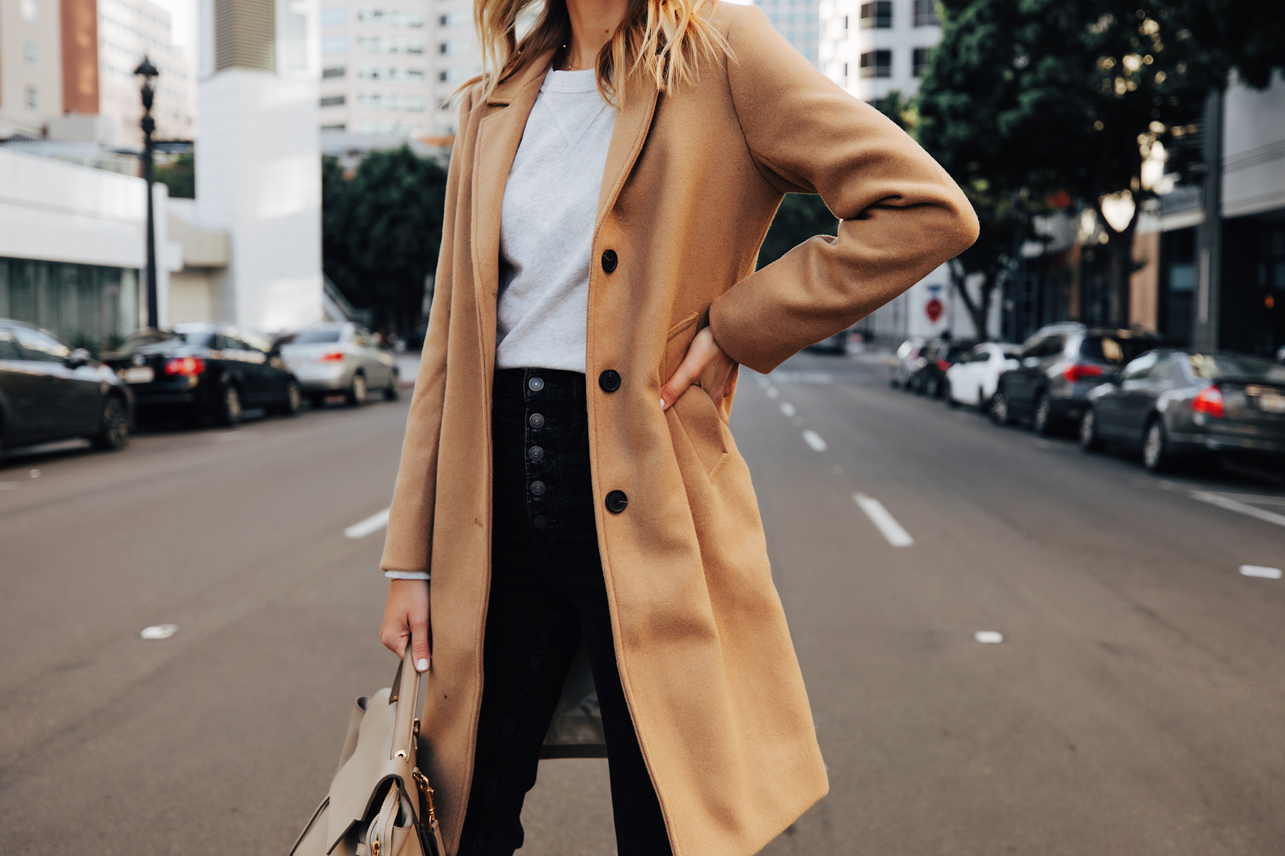 Fashion Jackson Wearing Abercrombie Camel Coat Grey Sweatshirt Black Jeans Fall Outfit 2