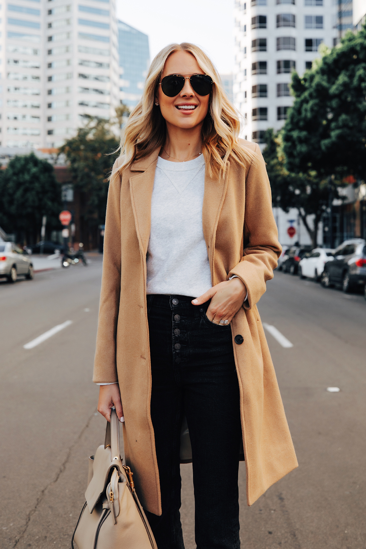 Fashion Jackson Wearing Abercrombie Camel Coat Grey Sweatshirt Black Jeans Fall Outfit