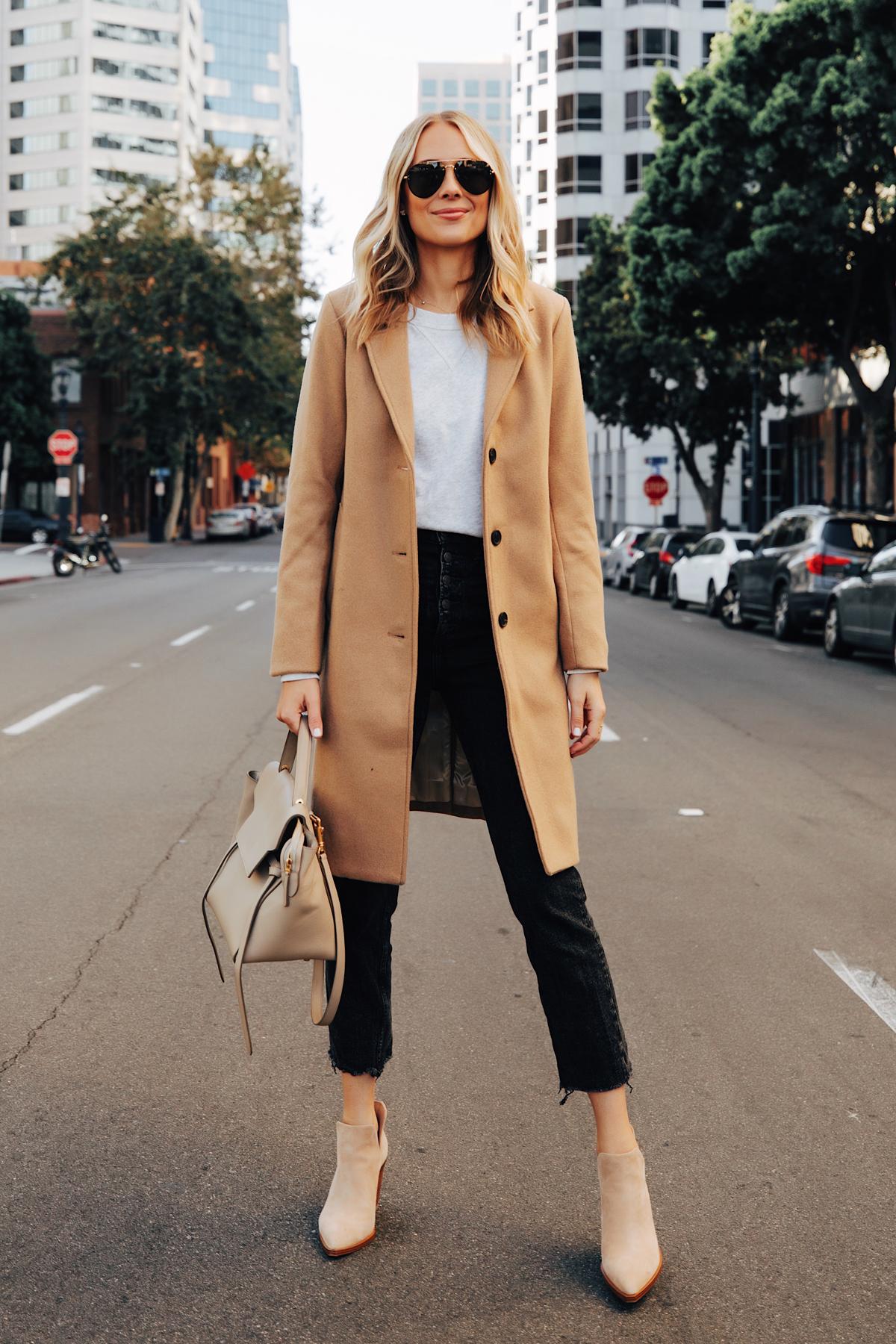 Fashion Jackson Wearing Abercrombie Camel Coat Grey Sweatshirt Black Raw Hem Jeans Tan Suede Booties Fall Outfit 1