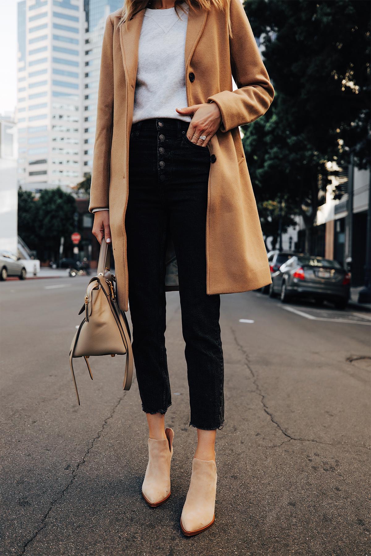 Fashion Jackson Wearing Abercrombie Camel Coat Grey Sweatshirt Black Raw Hem Jeans Tan Suede Booties Fall Outfit 2