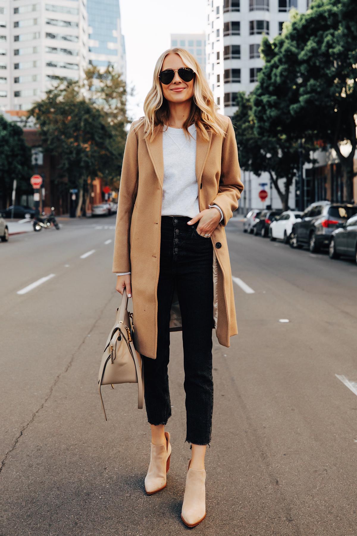 Fashion Jackson Wearing Abercrombie Camel Coat Grey Sweatshirt Black Raw Hem Jeans Tan Suede Booties Fall Outfit