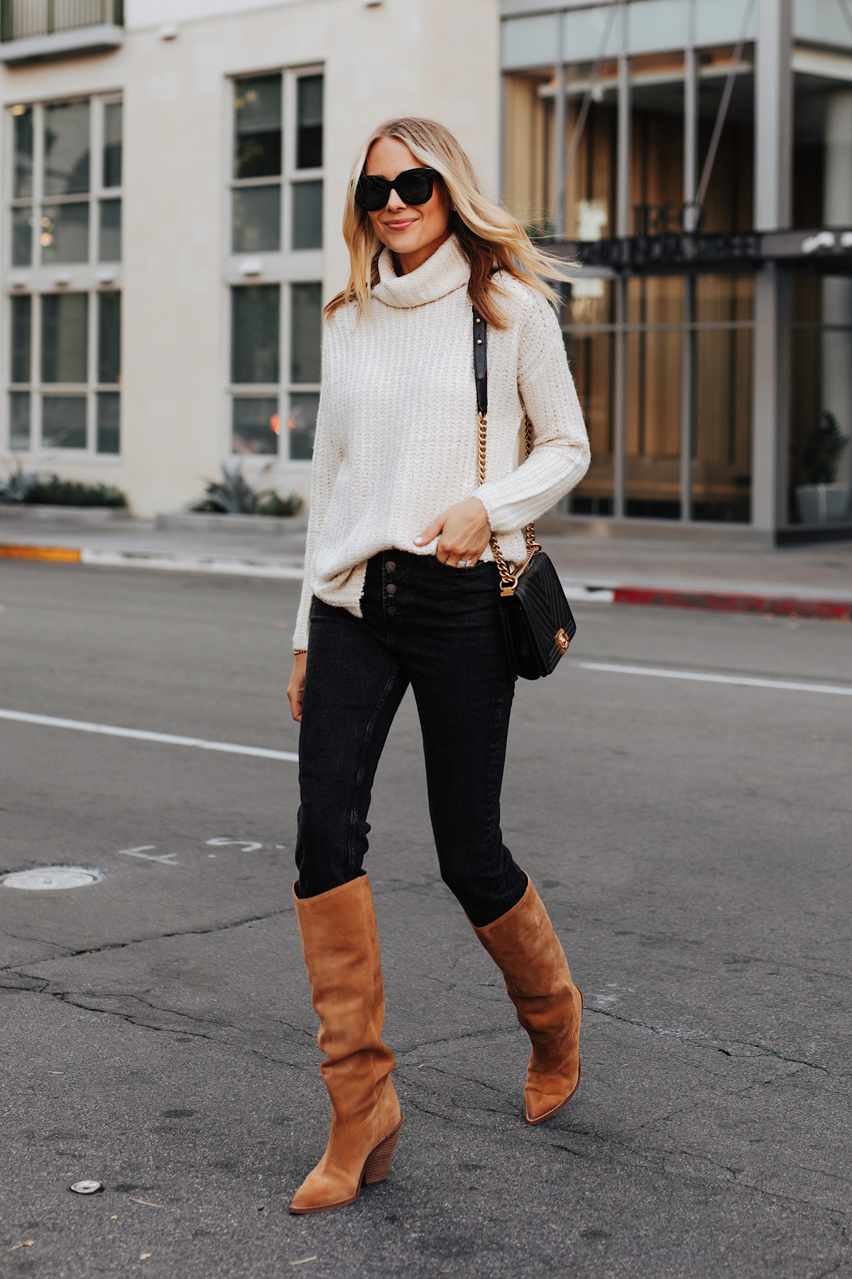 Fashion Jackson Wearing Abercrombie White Turtleneck Sweater Black Jeans Sam Edelman Tan Knee High Boots Fall Outfit 1