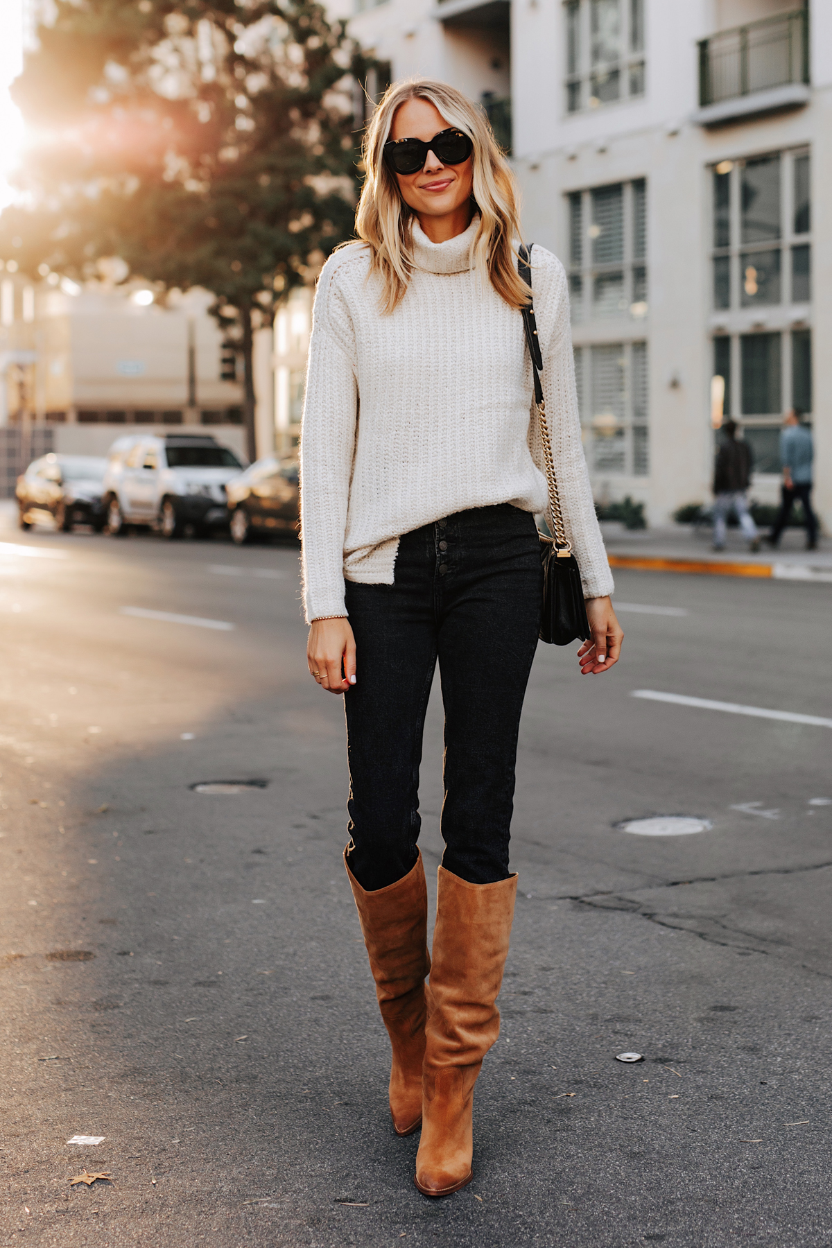 Fashion Jackson Wearing Abercrombie White Turtleneck Sweater Black Jeans Sam Edelman Tan Knee High Boots Fall Outfit