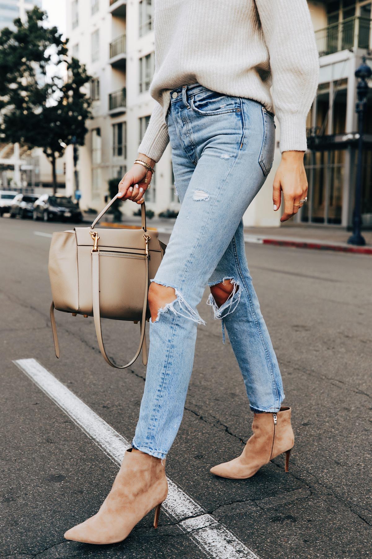 Fashion Jackson Wearing Beige Sweater Boyish Ripped Jeans Nine West Tan Suede Stiletto Booties