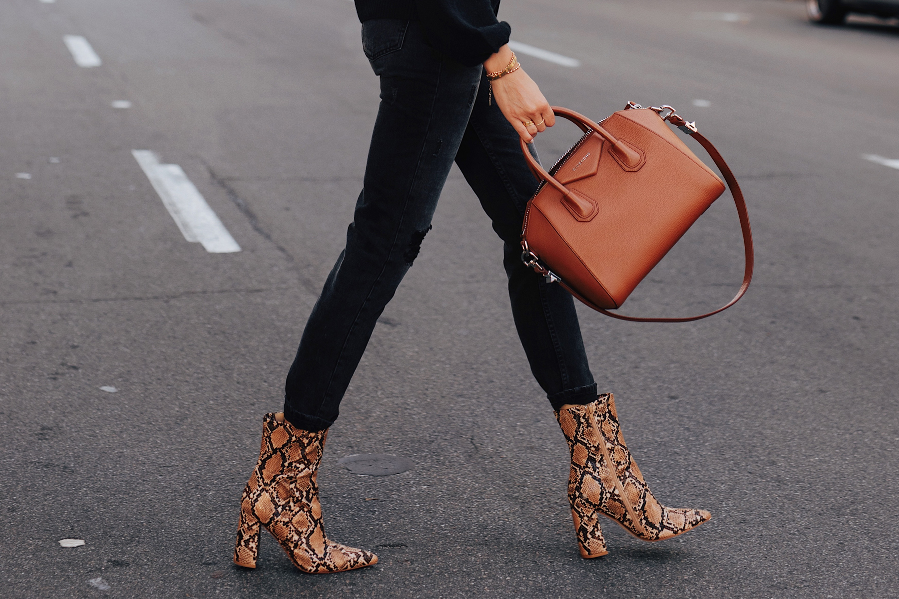 Fashion Jackson Wearing Black Jeans Tan Snakeskin Booties Givenchy Antigona Satchel Cognac