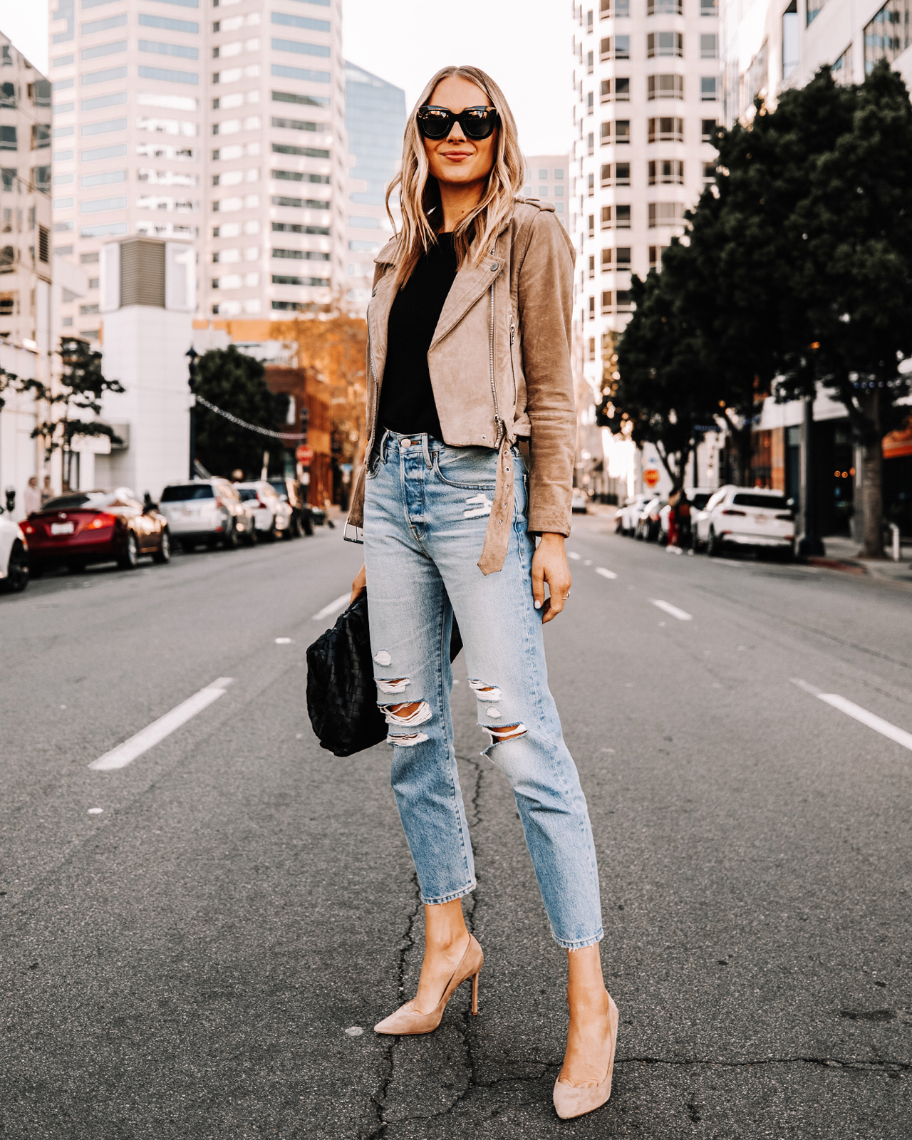 Fashion Jackson Wearing Blanknyc Suede Moto Jacket Frame Ripped Jeans Nude Pumps Fall Outfit Street Style