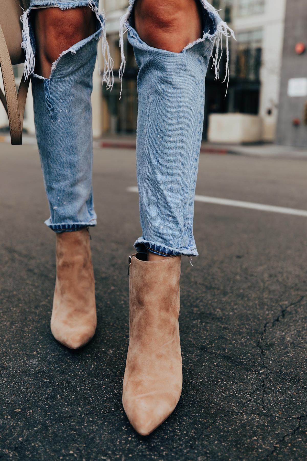 Fashion Jackson Wearing Boyish Ripped Jeans Nine West Tan Suede Stiletto Booties