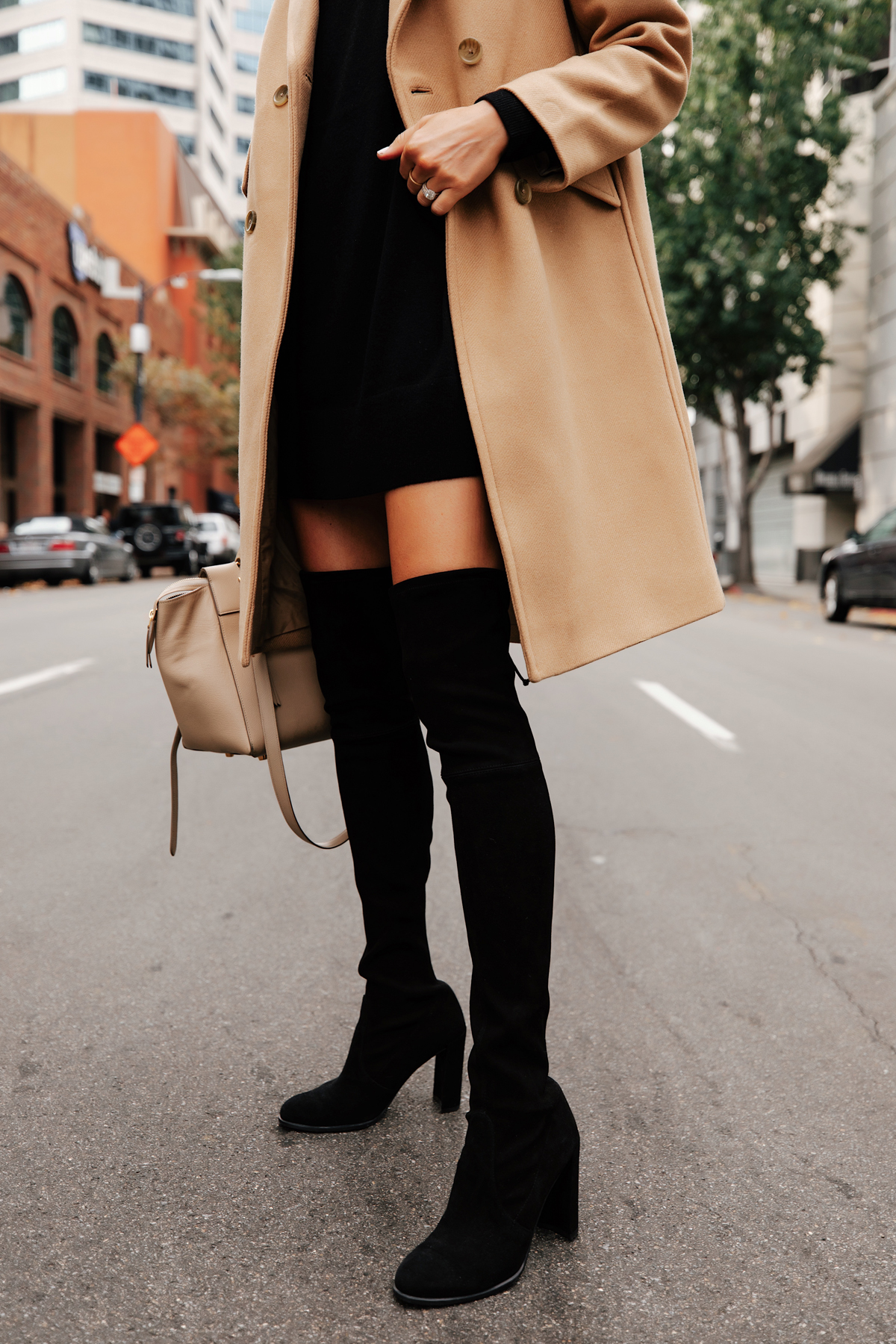 Fashion Jackson Wearing Camel Coat Black Dress Stuart Weitzman Black Over the Knee Boots