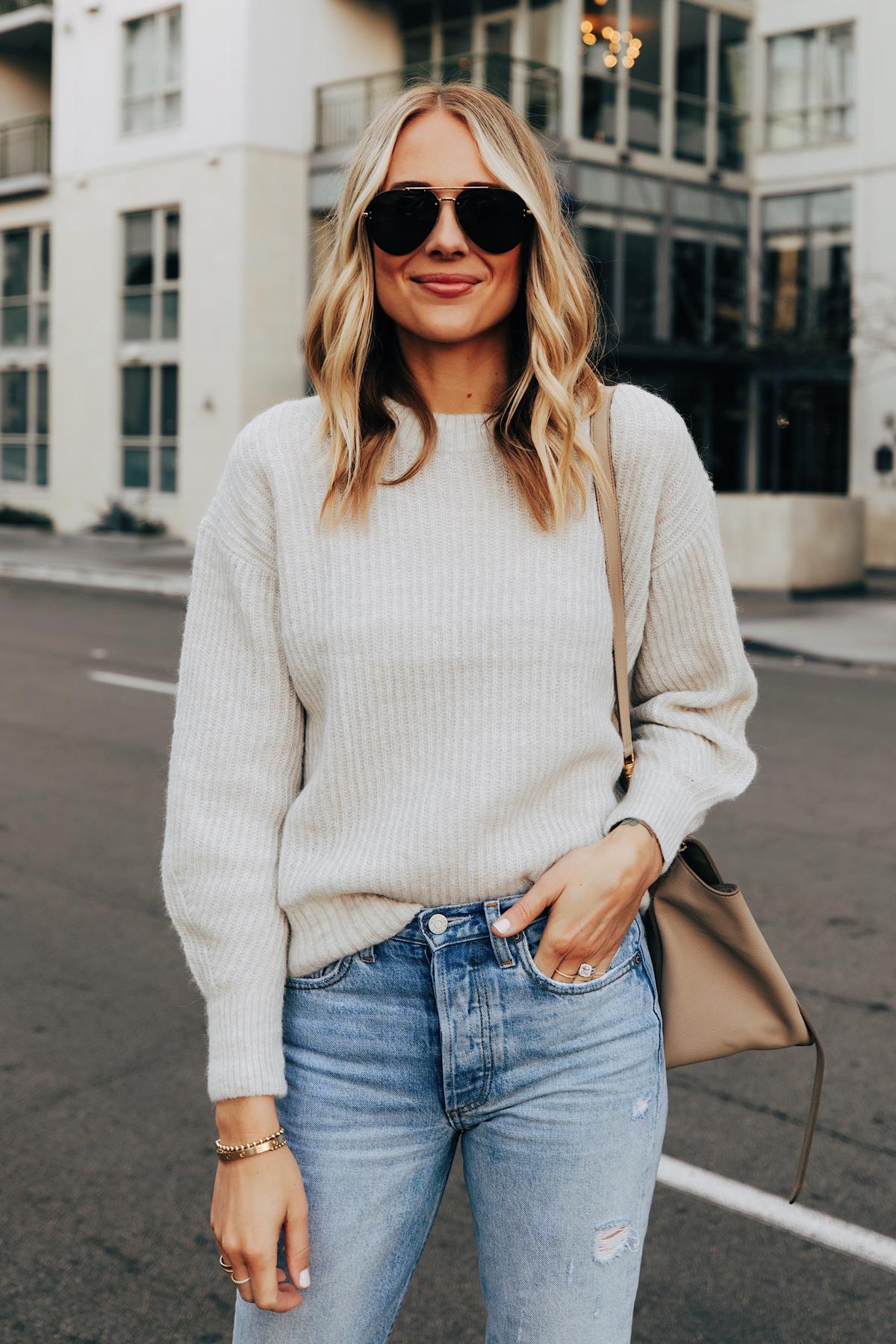 Fashion Jackson Wearing Everlane Beige Alpaca Sweater Jeans