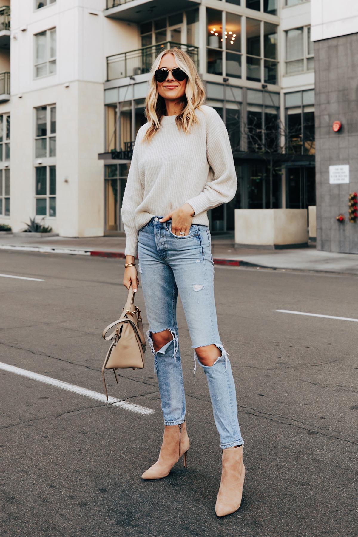 Fashion Jackson Wearing Everlane Beige Sweater Boyish Ripped Jeans Nine West Tan Suede Stiletto Booties