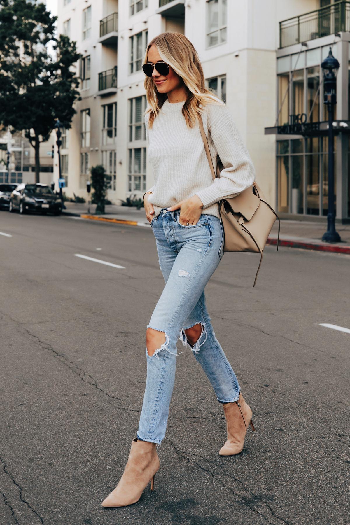Fashion Jackson Wearing Everlane Beige Sweater Boyish Ripped Jeans Nine West Tan Suede Stiletto Booties Celine Belt Bag
