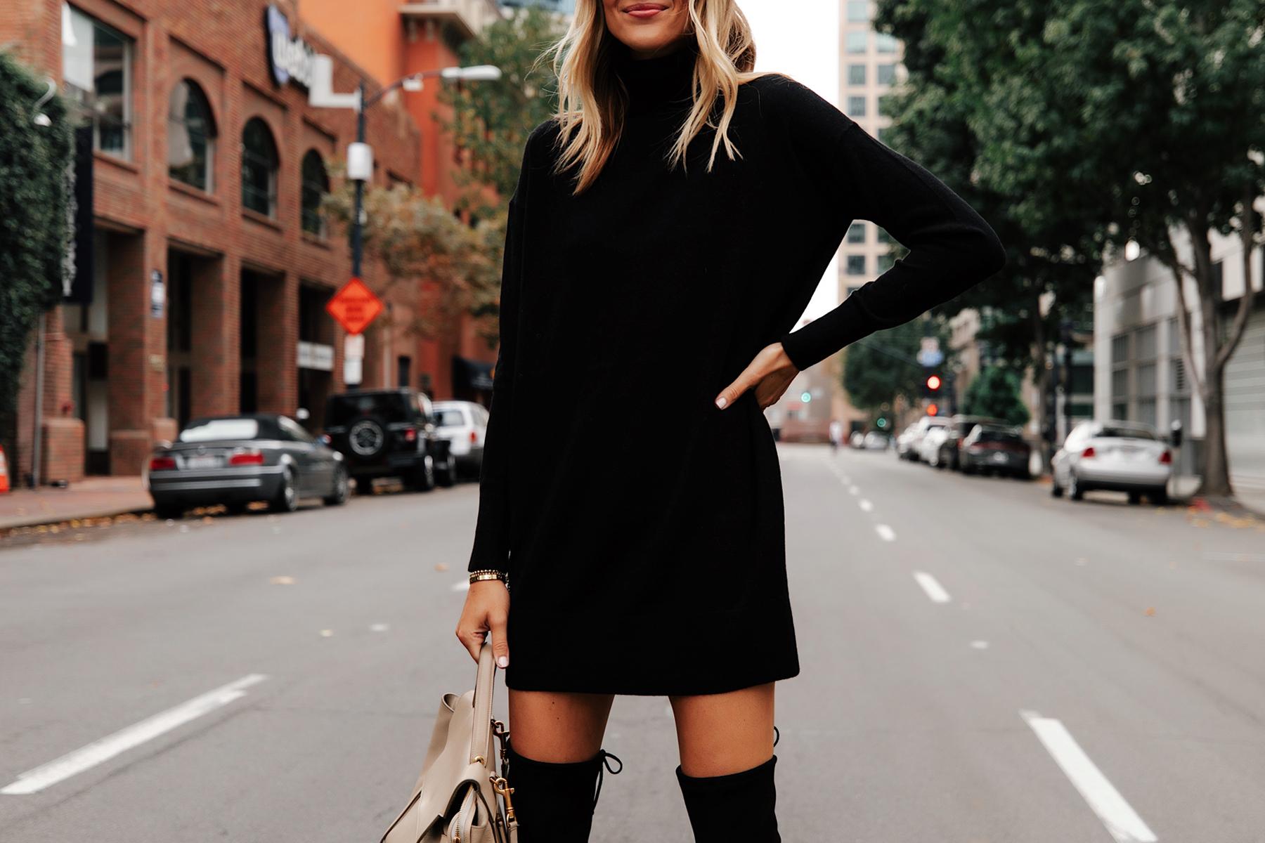 Fashion Jackson Wearing Everlane Black Sweater Dress 1