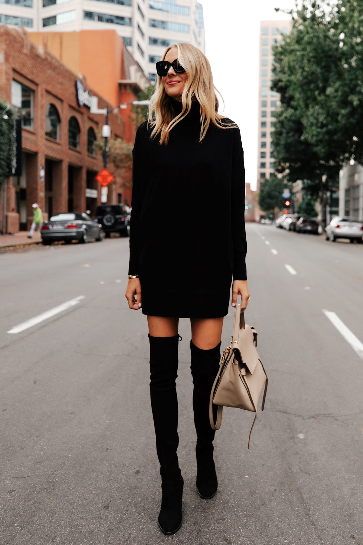 Fashion Jackson Wearing Everlane Black Sweater Dress Stuart Weitzman Black Over the Knee Boots 1