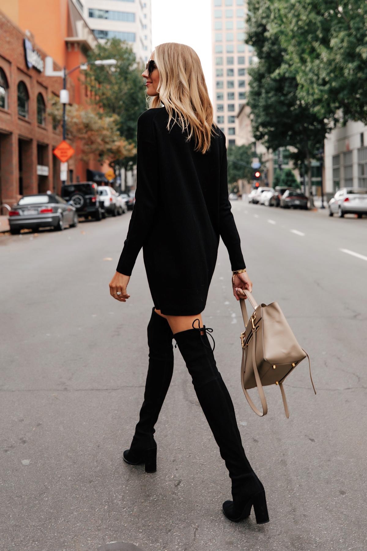 Fashion Jackson Wearing Everlane Black Sweater Dress Stuart Weitzman Black Over the Knee Boots