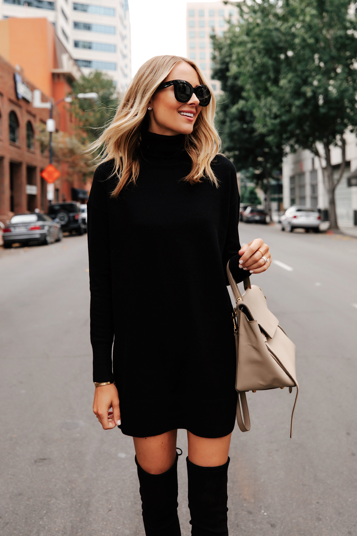 Fashion Jackson Wearing Everlane Black Sweater Dress