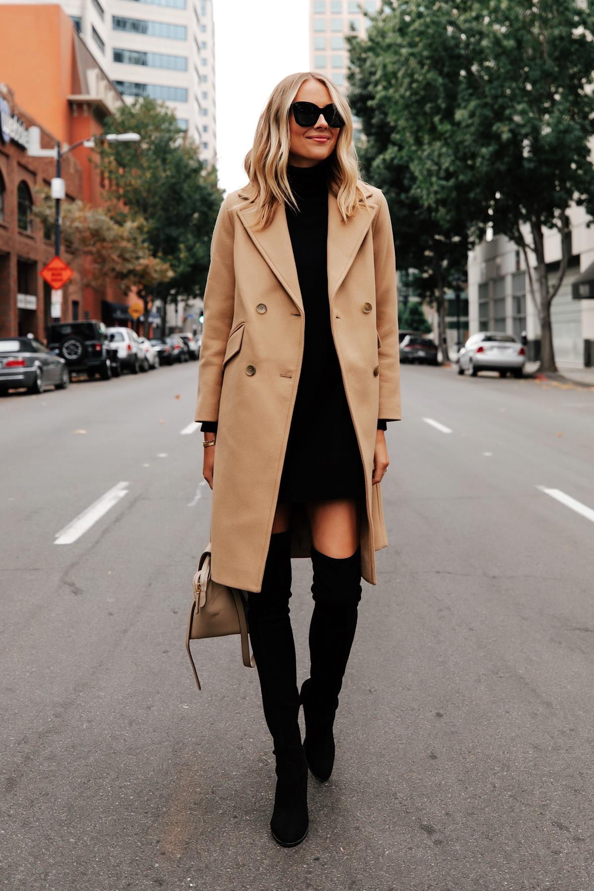 Fashion Jackson Wearing Everlane Camel Coat Black Sweater Dress Stuart Weitzman Black Over the Knee Boots