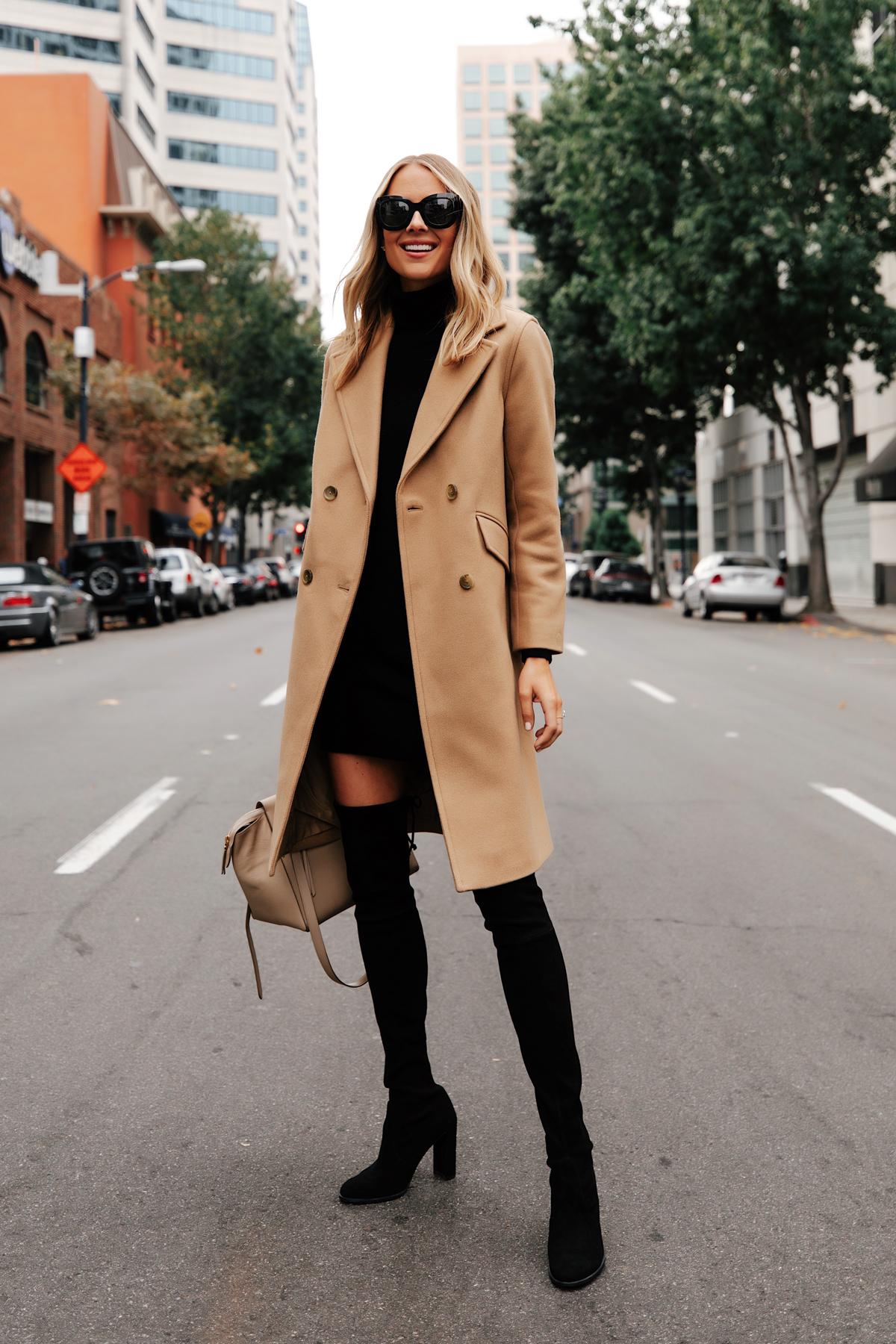 Fashion Jackson Wearing Everlane Camel Coat Everlane Black Sweater Dress Black Over the Knee Boots