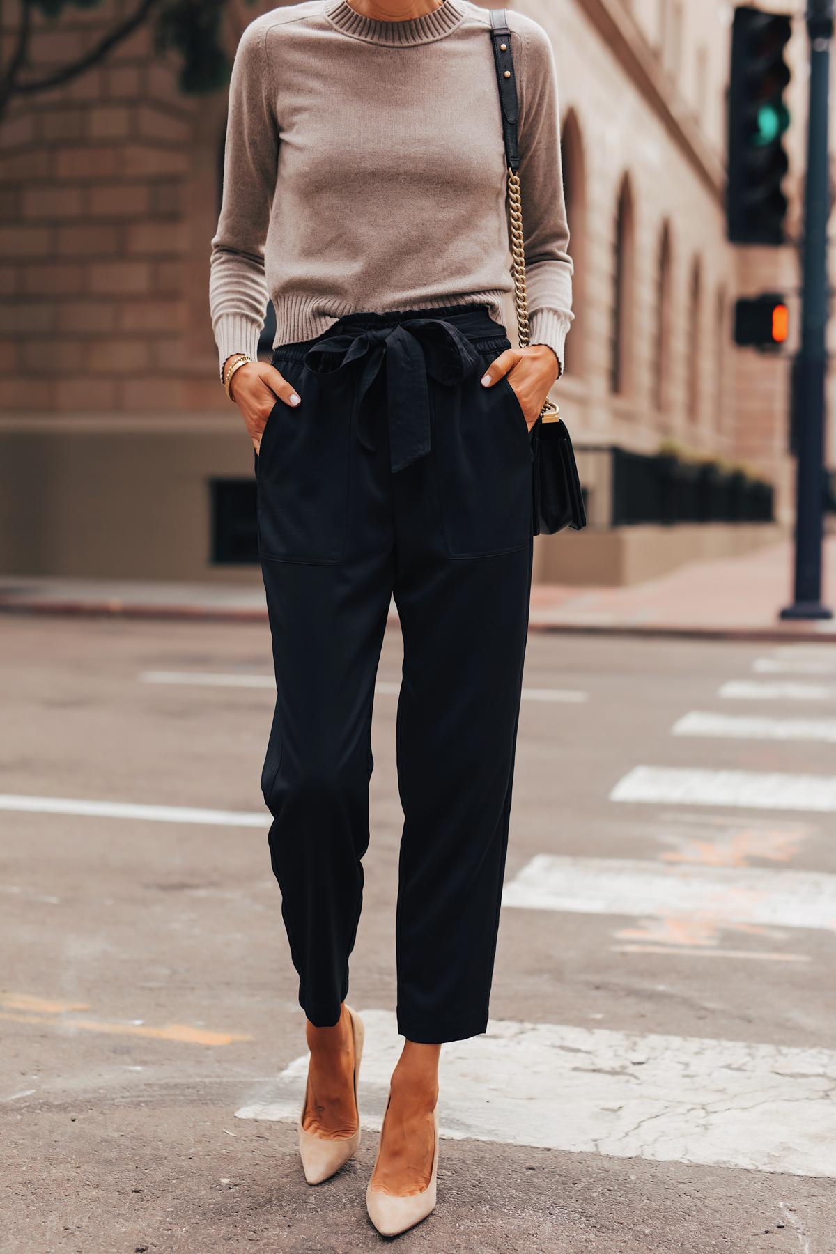 Fashion Jackson Wearing Everlane Taupe Cashmere Sweater Black Tie Waist Pants Nude Pumps