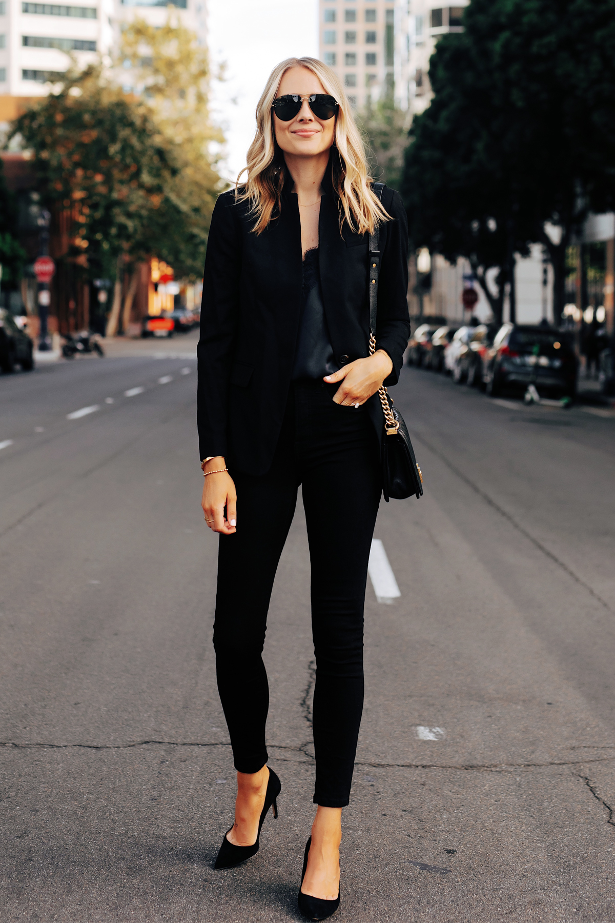 Fashion Jackson Wearing Jcrew Black Blazer Black Lace Cami Black Skinny Jeans Black Pumps